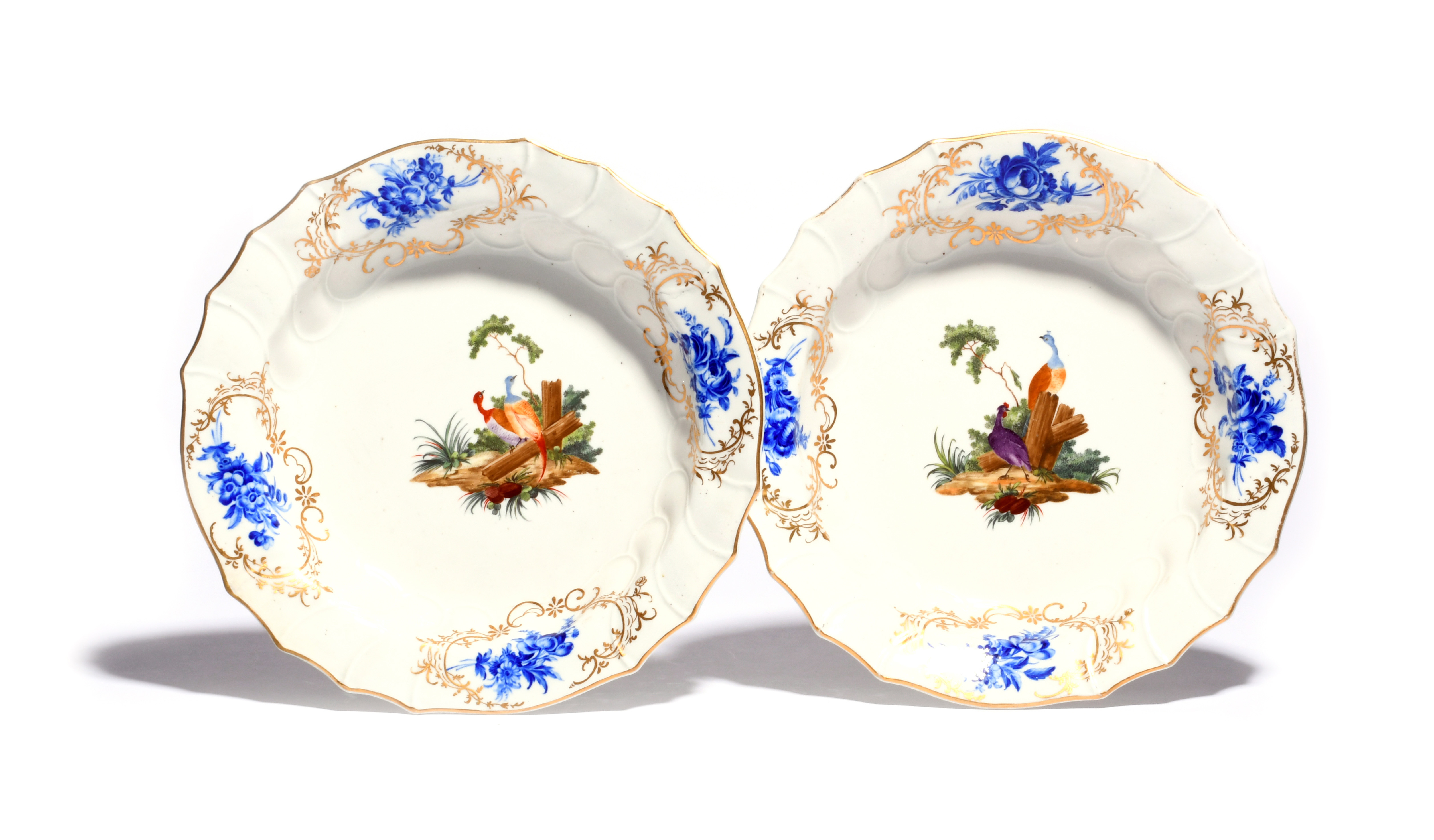 A pair of Tournai soup plates c.1770, decorated in the Hague with colourful vignettes of fancy birds