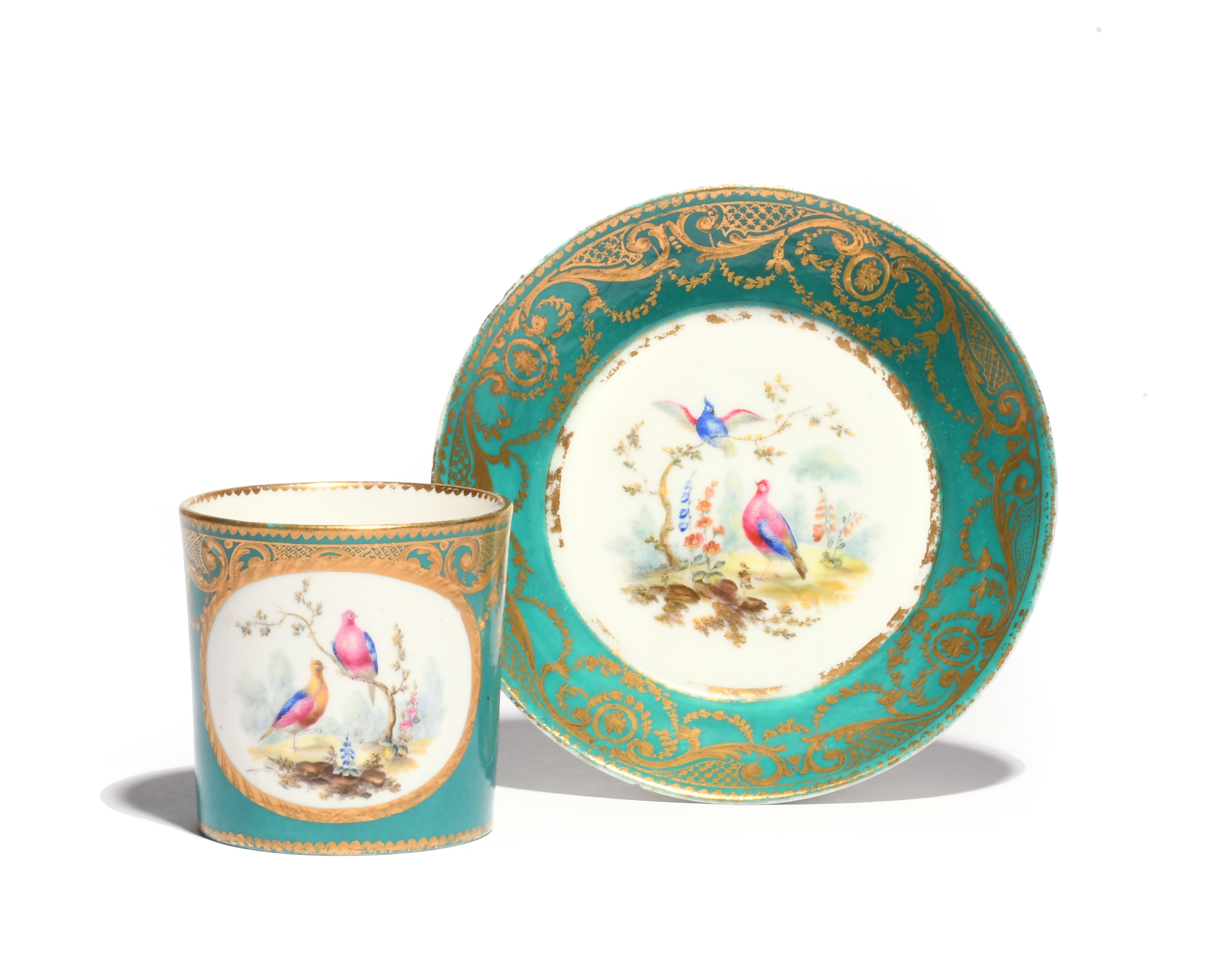 A Sèvres coffee can (gobelet litron) and saucer c.1760, later decorated perhaps in London with