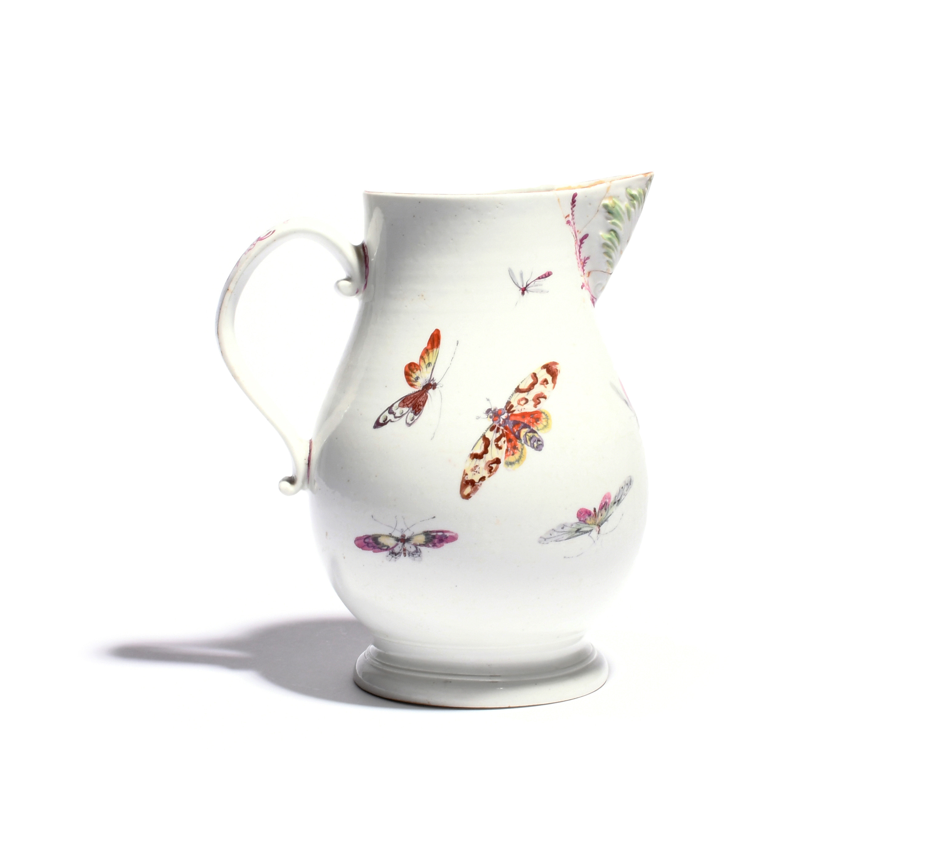 A large Derby cider jug c.1760, painted to one side with a fancy bird strutting before low - Image 2 of 2