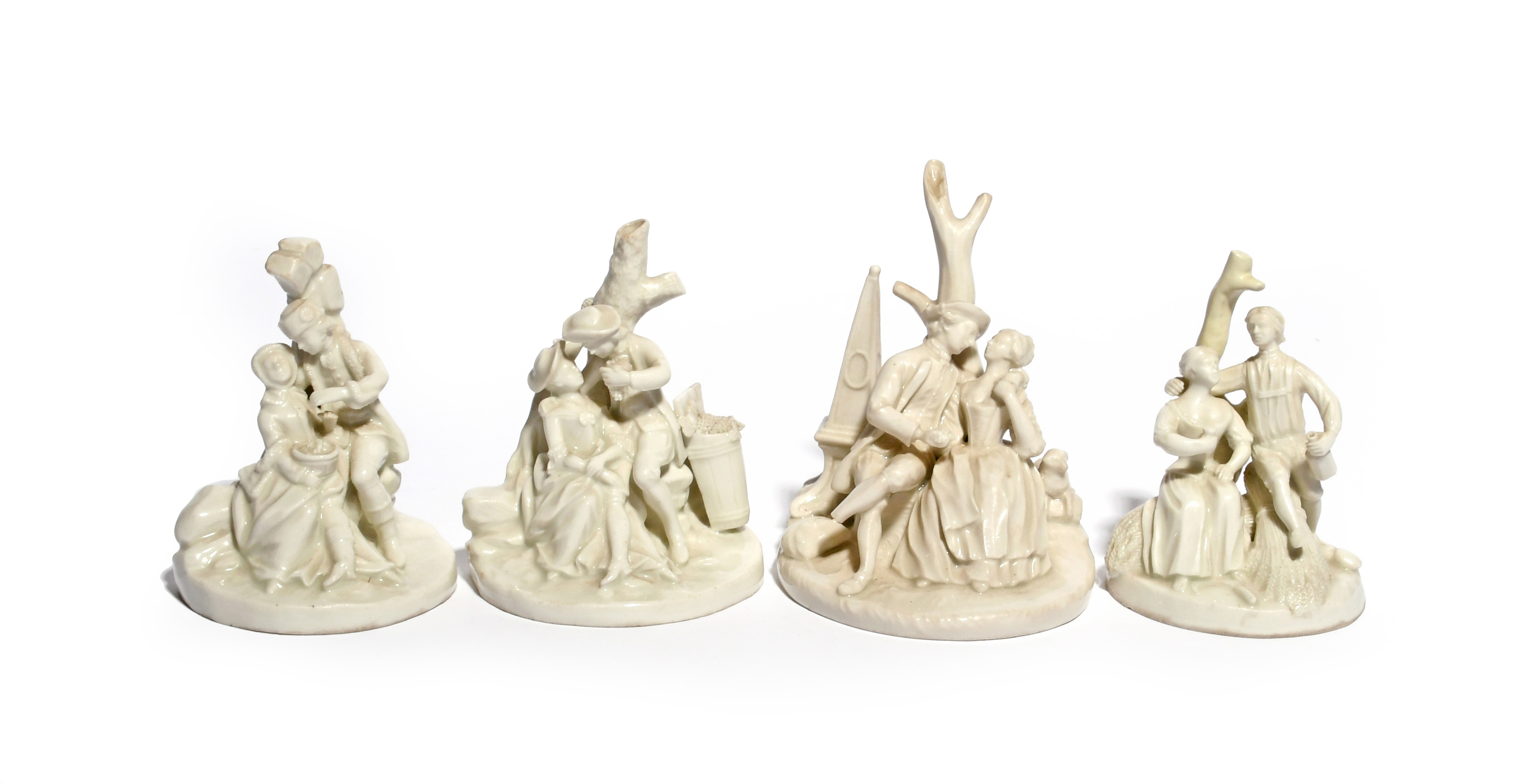 A set of four small Continental porcelain figure groups of the Seasons c.1770-90, each depicting a