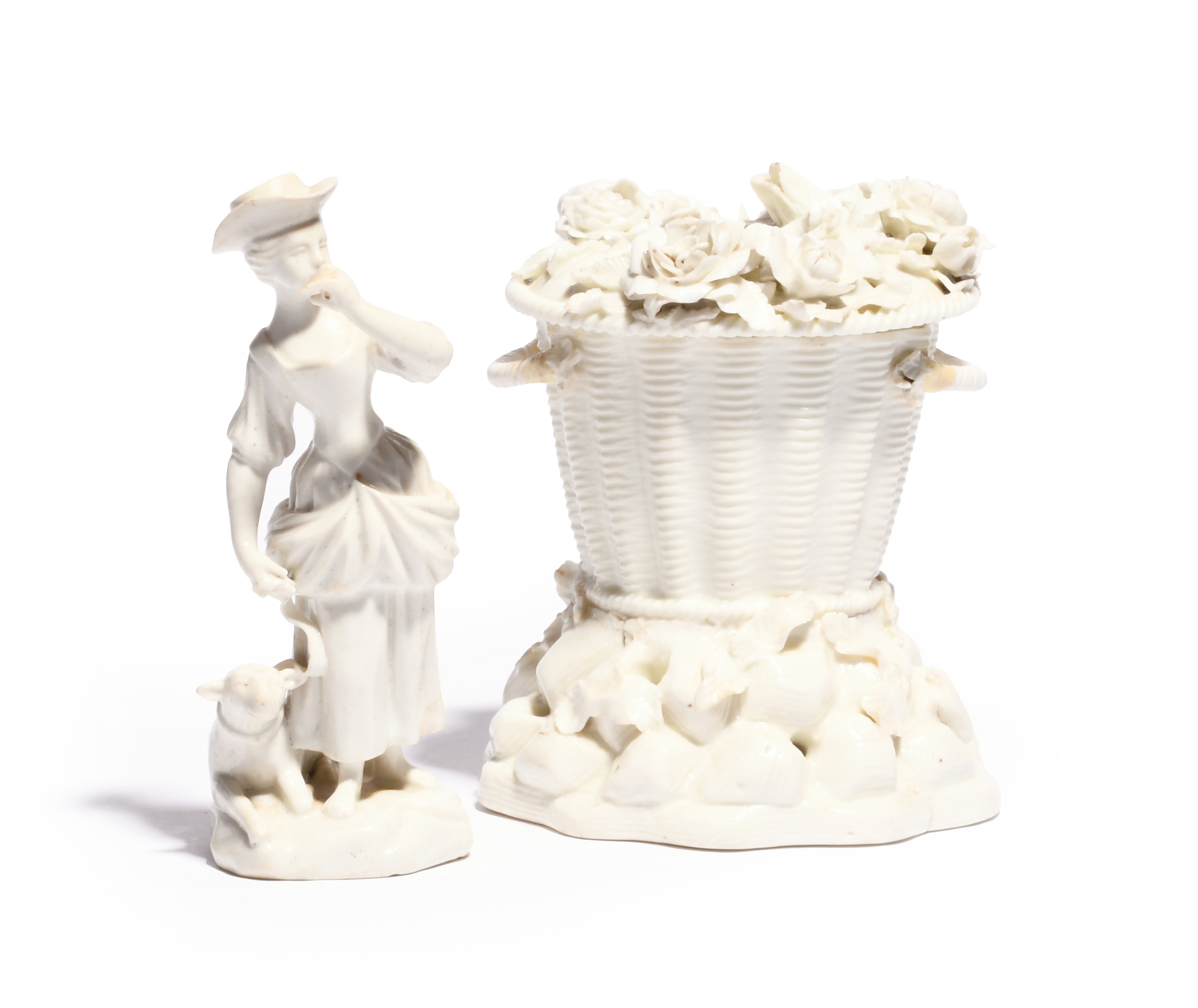 A St Cloud pot pourri vase and associated cover mid 18th century, formed as a basket resting on