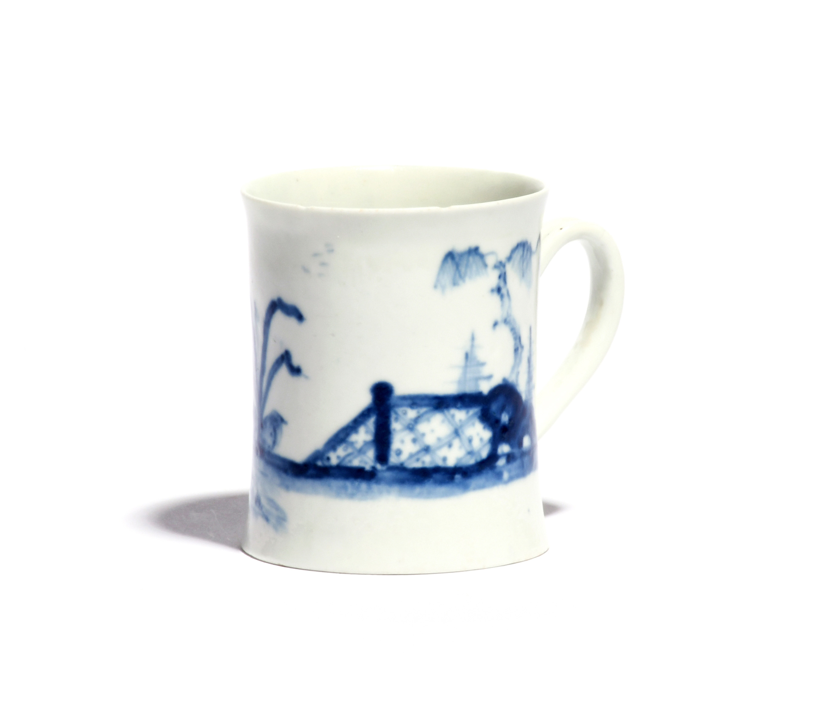 A rare Worcester blue and white coffee cup c.1760-65, painted with the Blue Valentine pattern with - Image 2 of 2