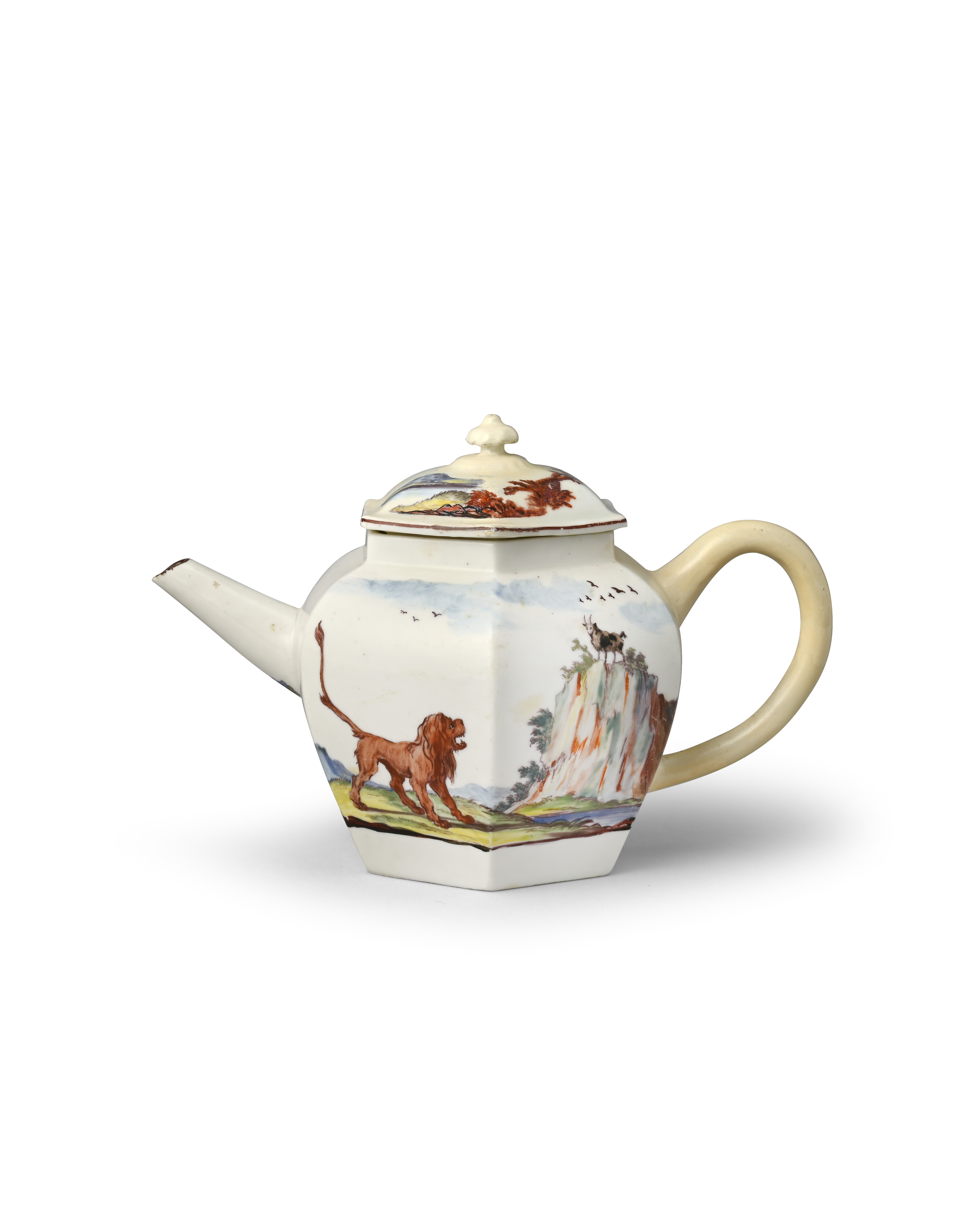 A Chelsea hexagonal Fable-decorated teapot and cover c.1752-55, painted by Jefferyes Hamett O'