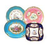 Four Sèvres-style or later decorated dishes c.1770 and later, one plate painted with birds within