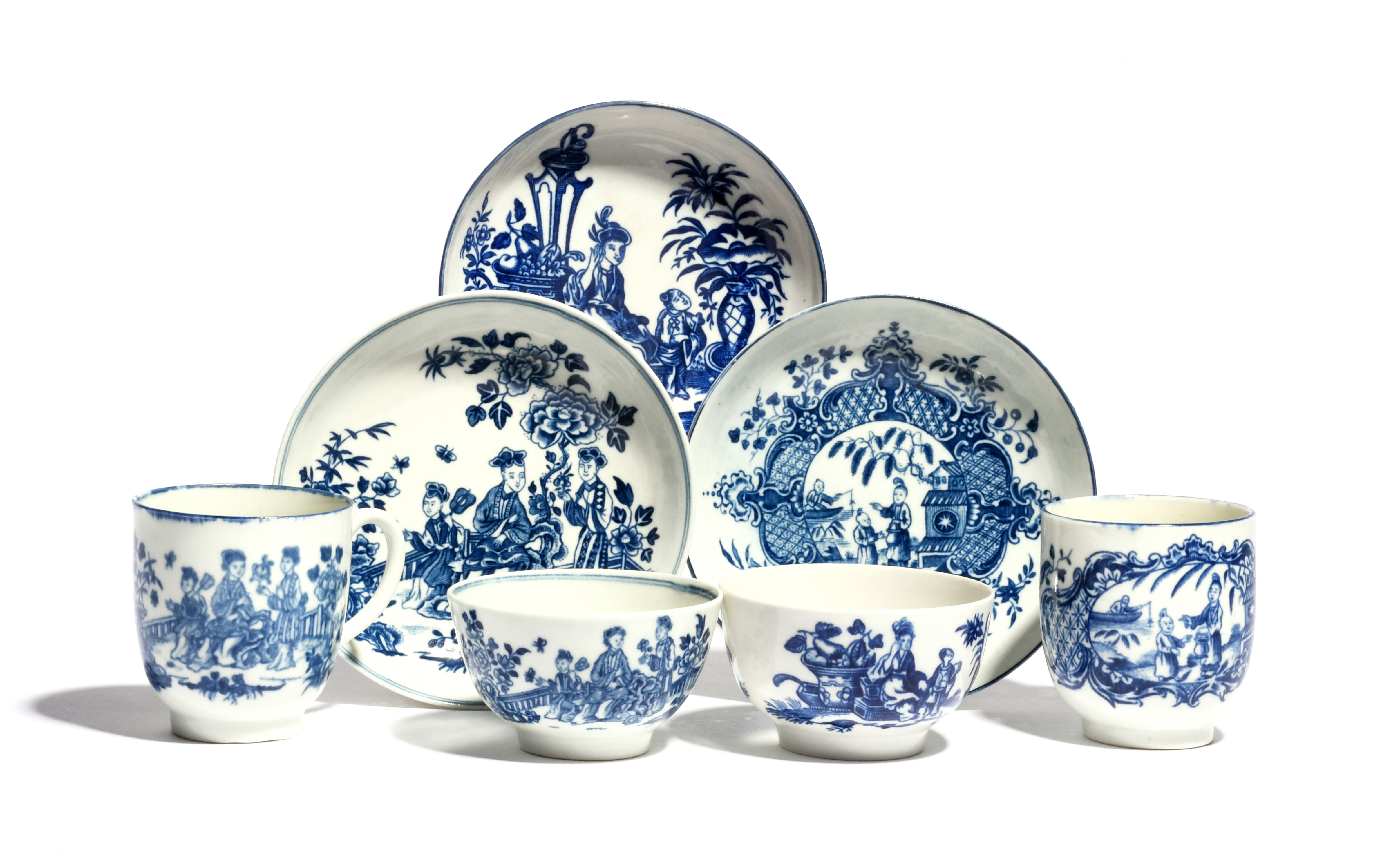 A group of Worcester blue and white teawares c.1775-80, decorated with Chinese figures, including