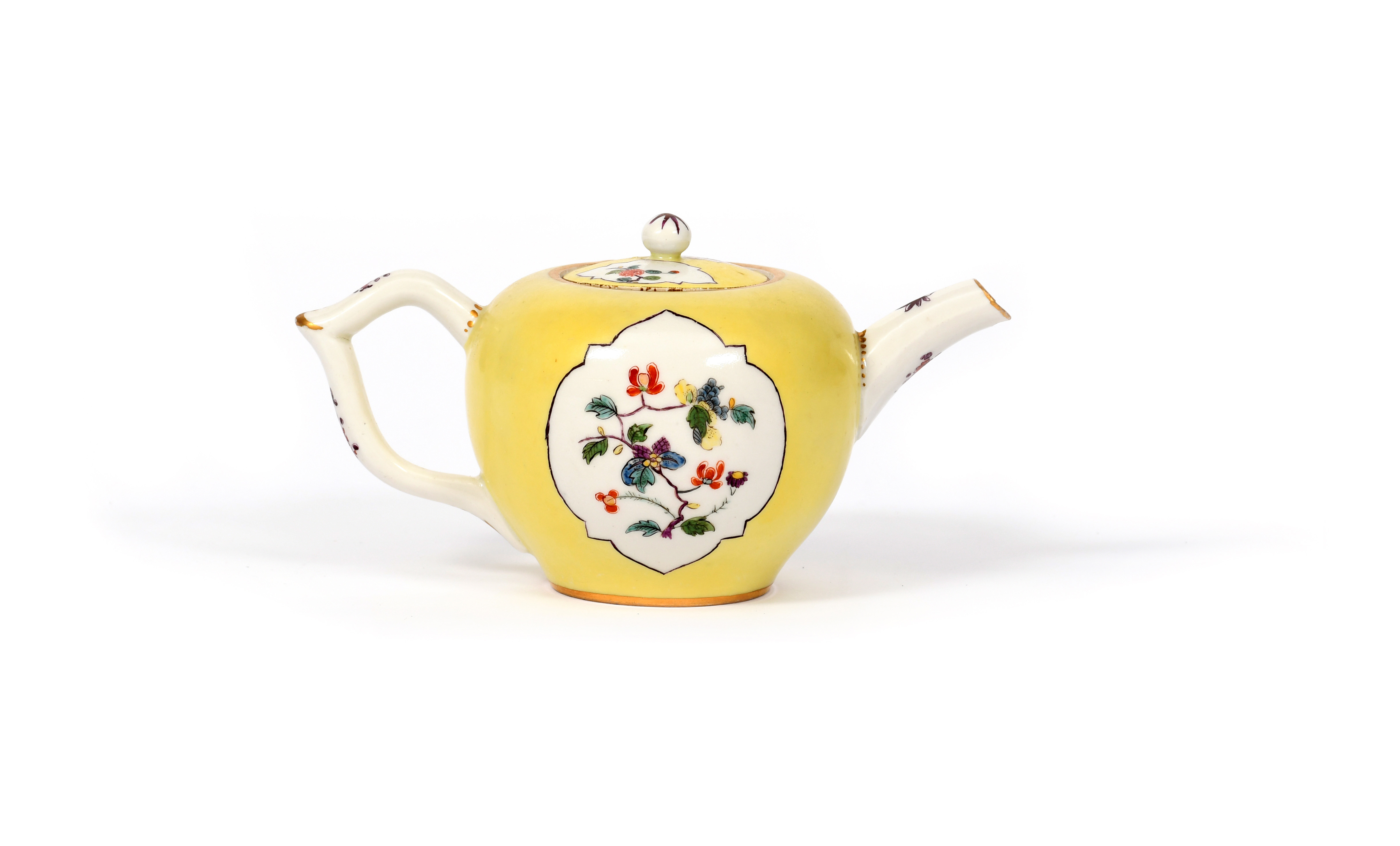 A Meissen teapot and cover c.1735, painted in an extended Kakiemon palette with sprays of - Image 2 of 2