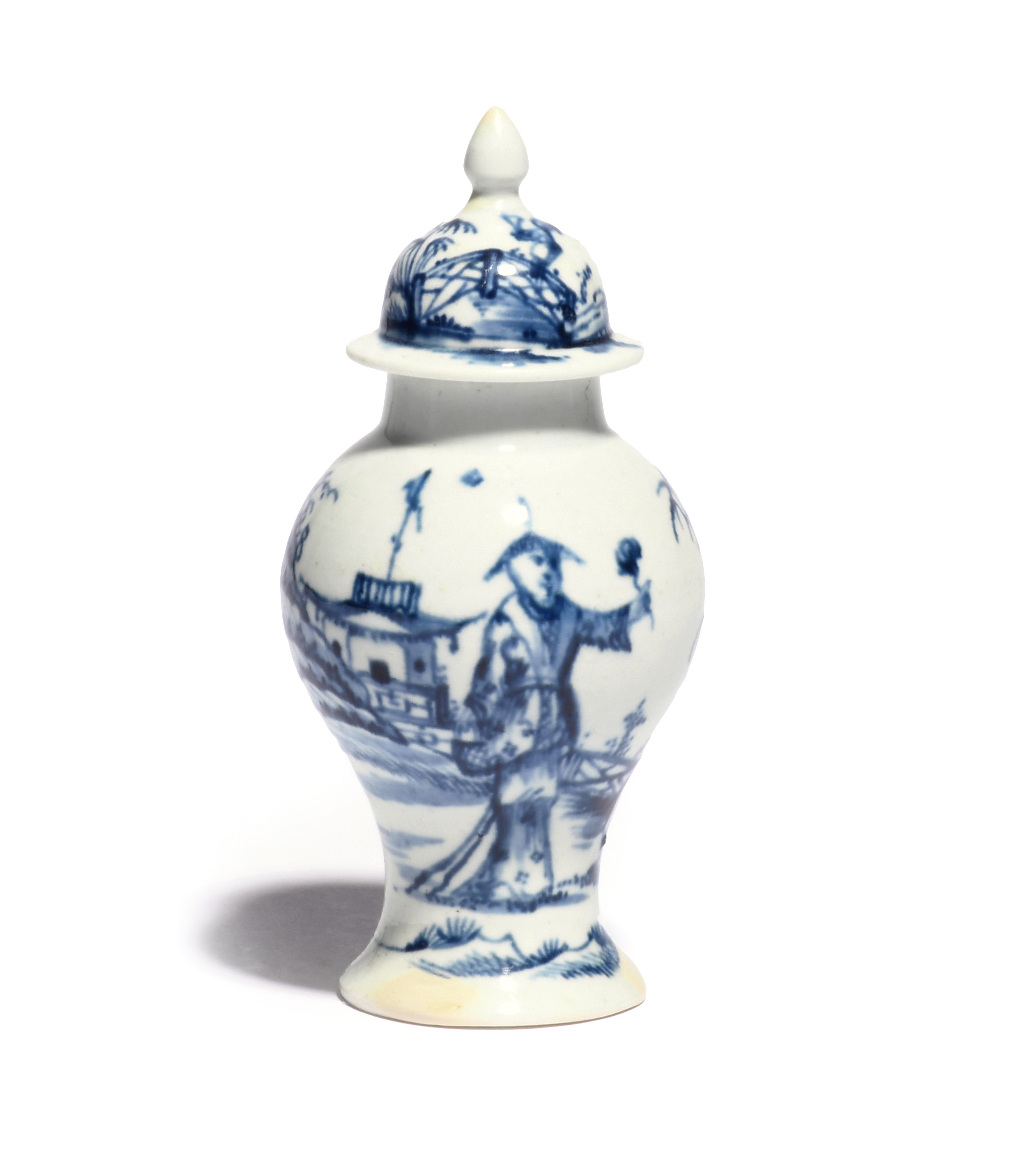 A small James Pennington (Liverpool) blue and white baluster vase and cover c.1765-70, painted