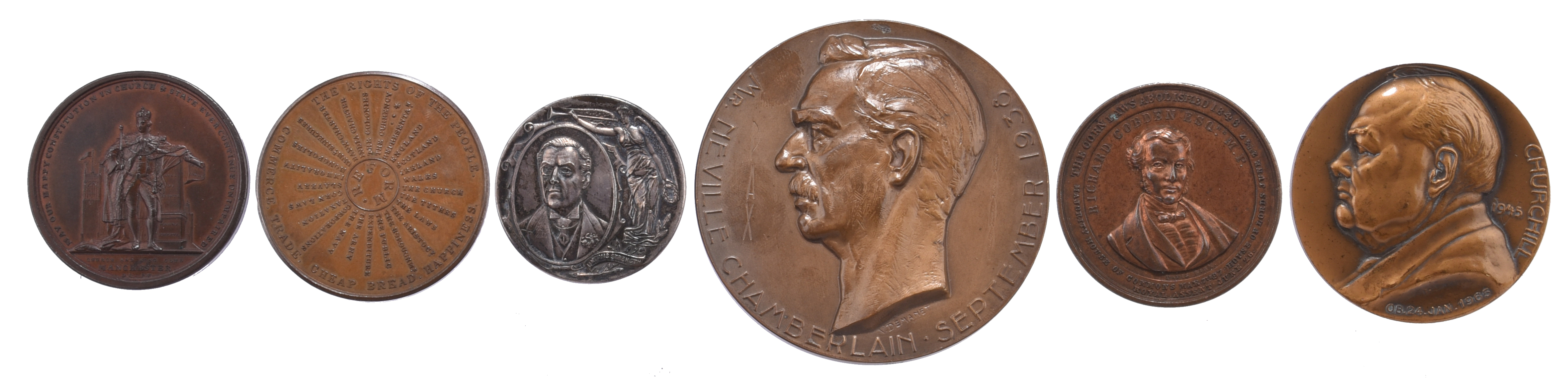 A quantity of commemorative medals, political themes, including: Church and King Club Manchester