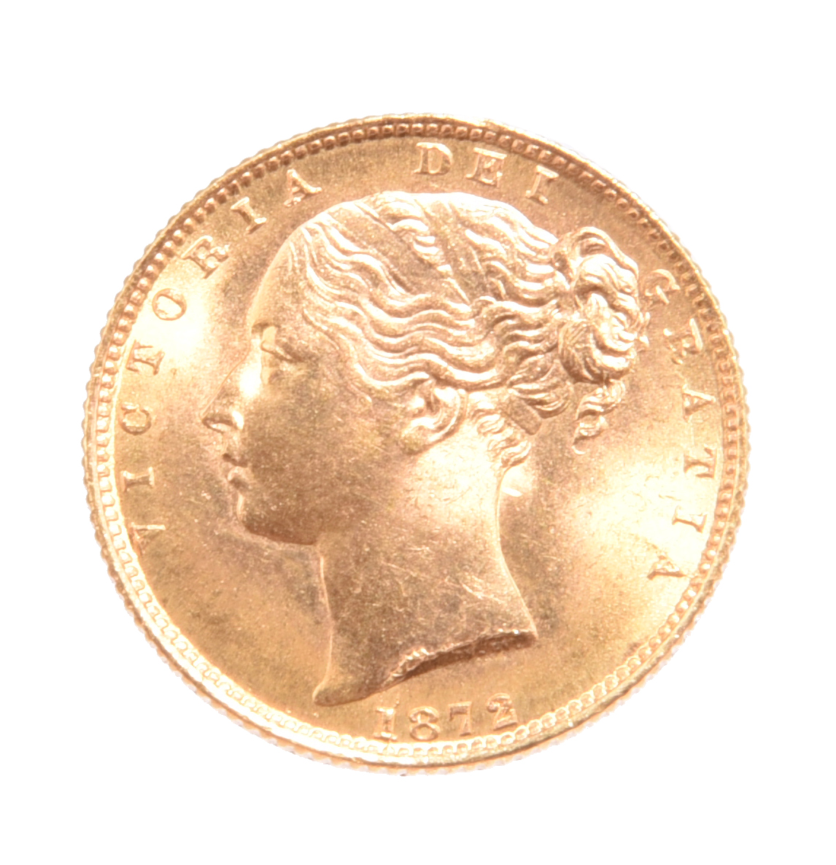 Victoria, gold sovereign, 1872, die number 100 (S3853B), die cracks, good extremely fine.