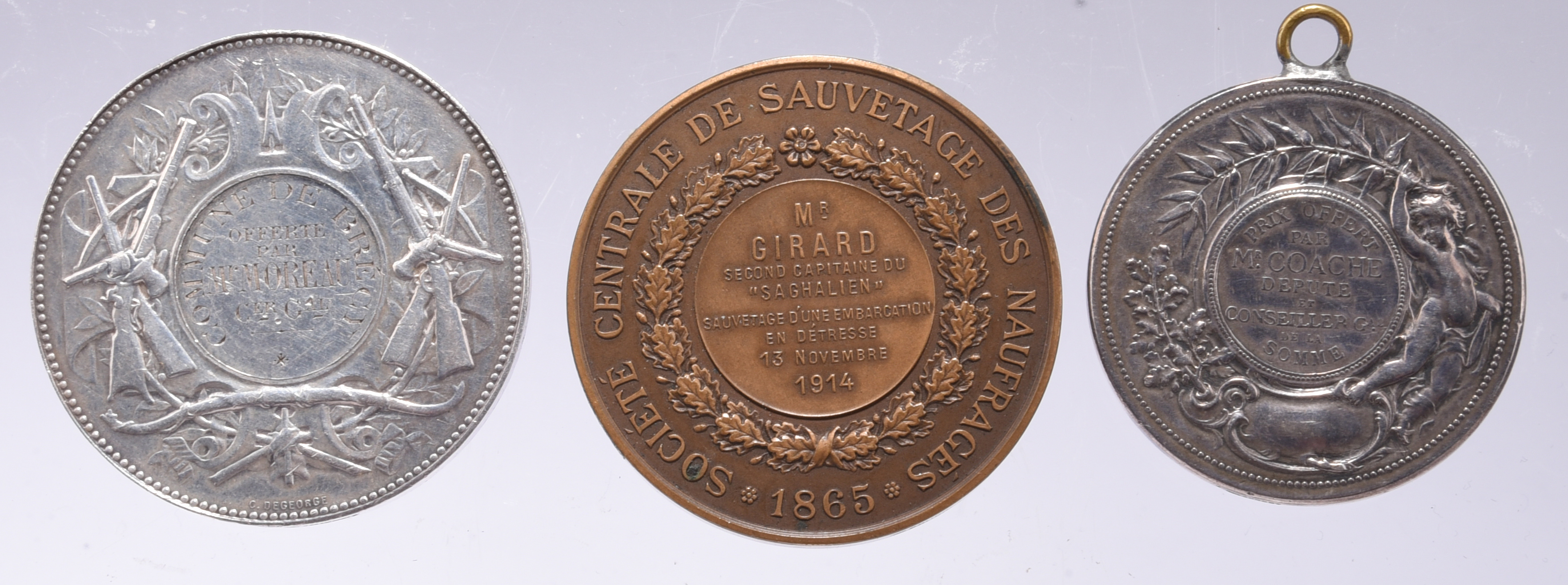 Three French Award Medals: silver, 51mm, head of Marianne left, rev. rifles, revolver and a bow, - Image 2 of 2