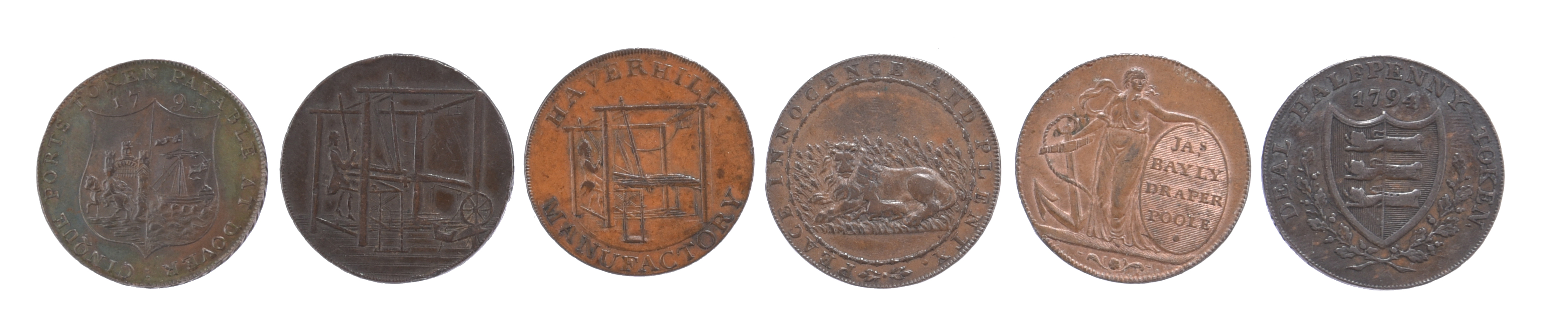 18th century tokens: Kent: Dover halfpenny 1794, William Pitt, rev. Cinque Ports arms, edge AT - Image 2 of 2