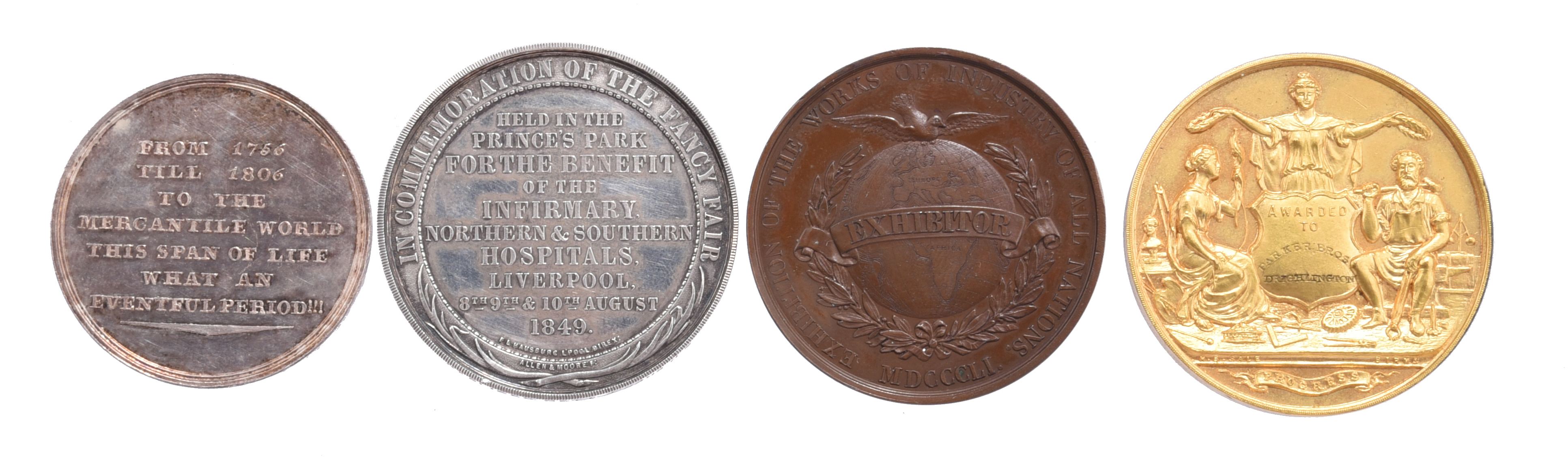 Commerce and Industry: four medals: John Parish, Hamburg 1806, silver, 39mm, 'FROM 1756 TILL 1806 TO - Image 2 of 2