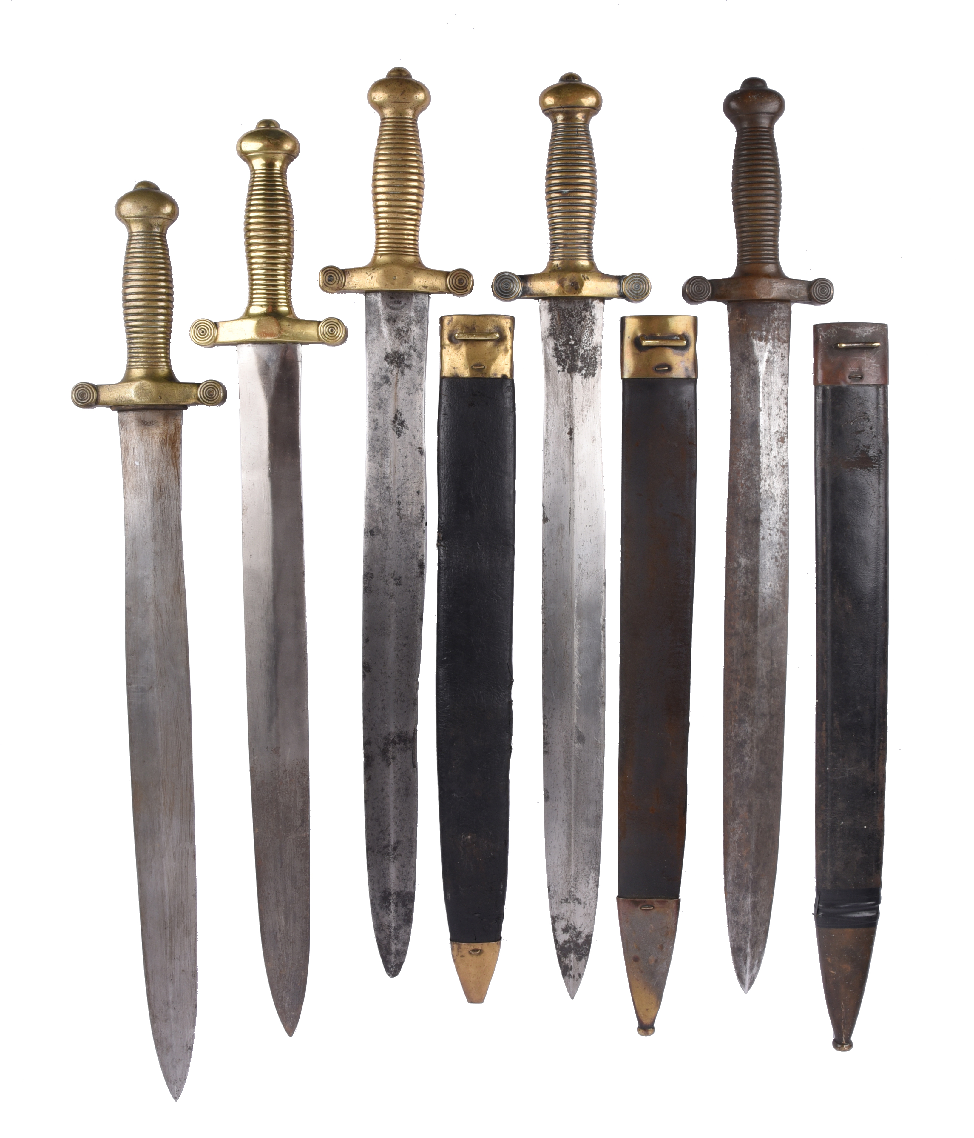 Five French model 1831 foot artillery sidearms, broad double edged blades, cast brass hilts of '