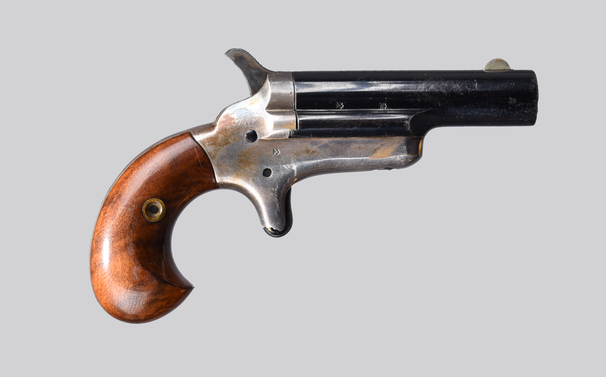 A Colt .41 rimfire Thuer patent 'Third Model' derringer, 2.5 in. blued barrel with foresight and