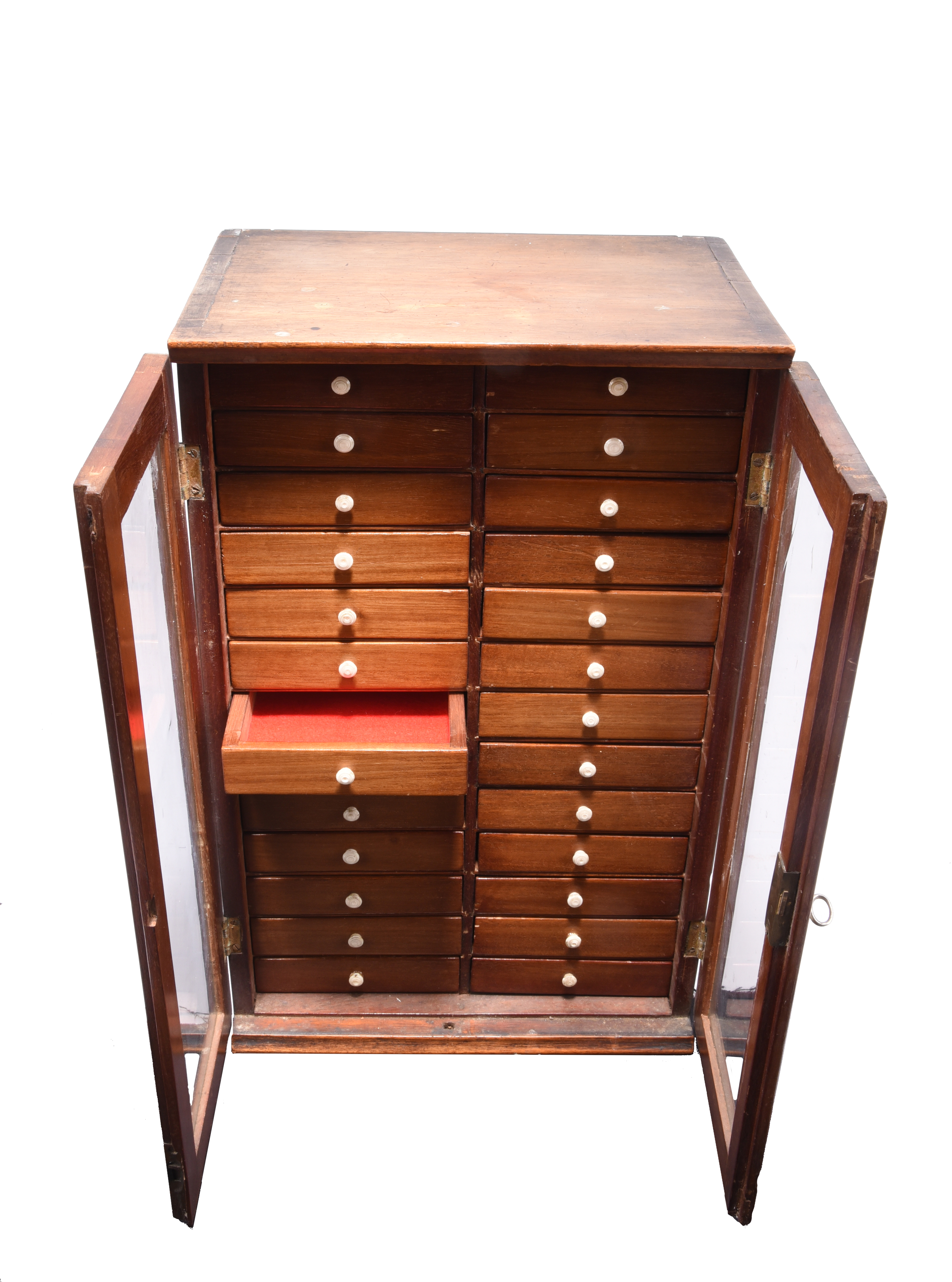 A late 19th/early 20th century collectors cabinet, 26 small drawers in two columns enclosed by - Image 3 of 3