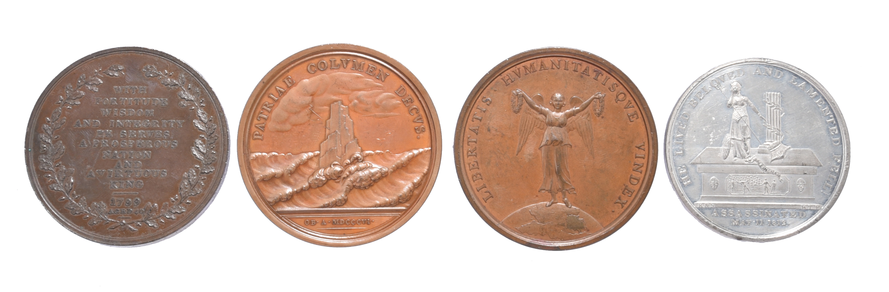 British politicians, four medals: William Pitt First Lord of the Treasury 1799, AE, 53mm, bust left, - Image 2 of 2