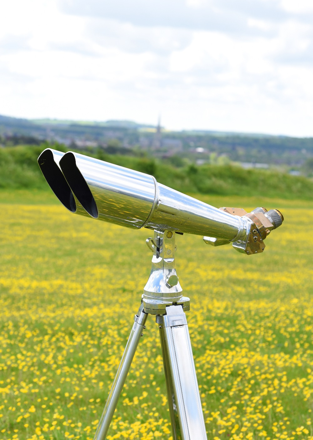 A pair of massive 20x120mm Imperial Japanese Naval observation binoculars, aluminium, brass and - Image 4 of 4