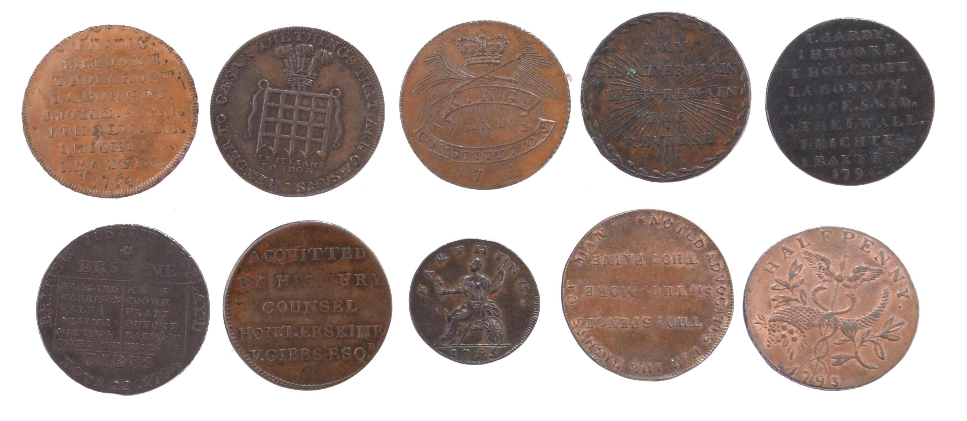 Eighteenth century halfpenny tokens, Middlesex, including: Erskine & Gibbs, barristers holding - Image 2 of 2