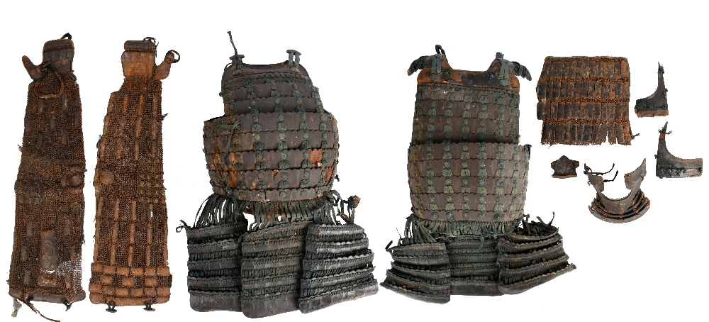 A part Japanese armour, laquered iron and silk, comprising: cuirass (do) formed of curved horizontal