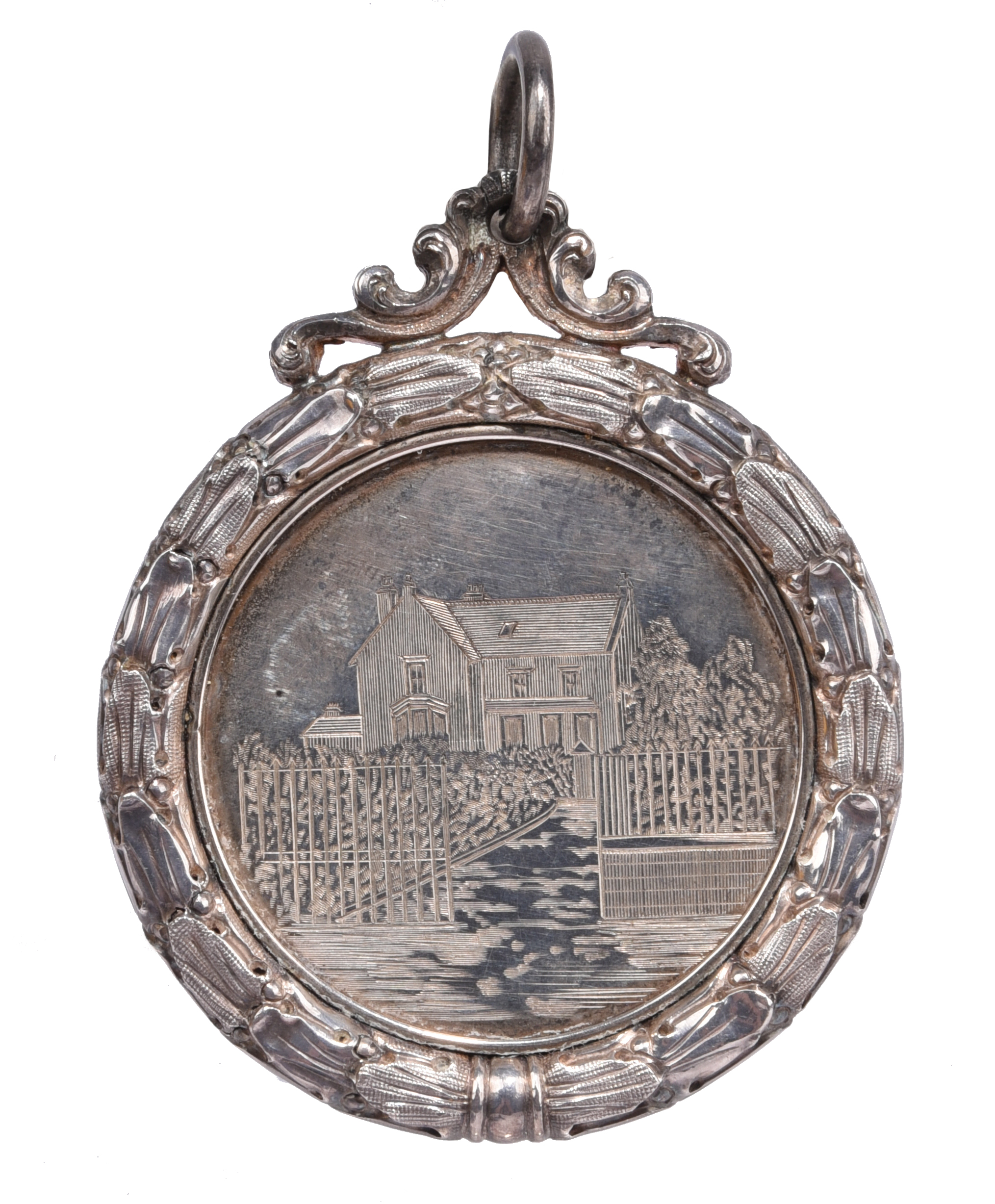 Scotland: Brechin High School 1888-9: an engraved silver prize medal, 58mm, view of the school, rev.