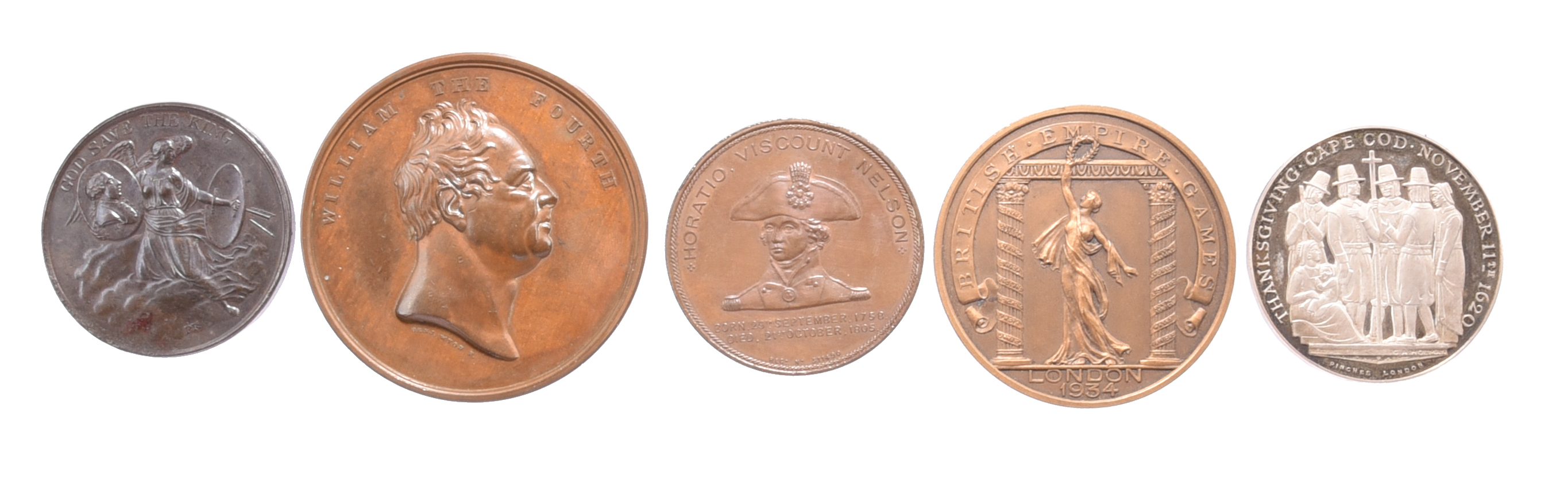 Five various historical medals: George III Preserved from Assassination 1800, AE, 38mm, an angel