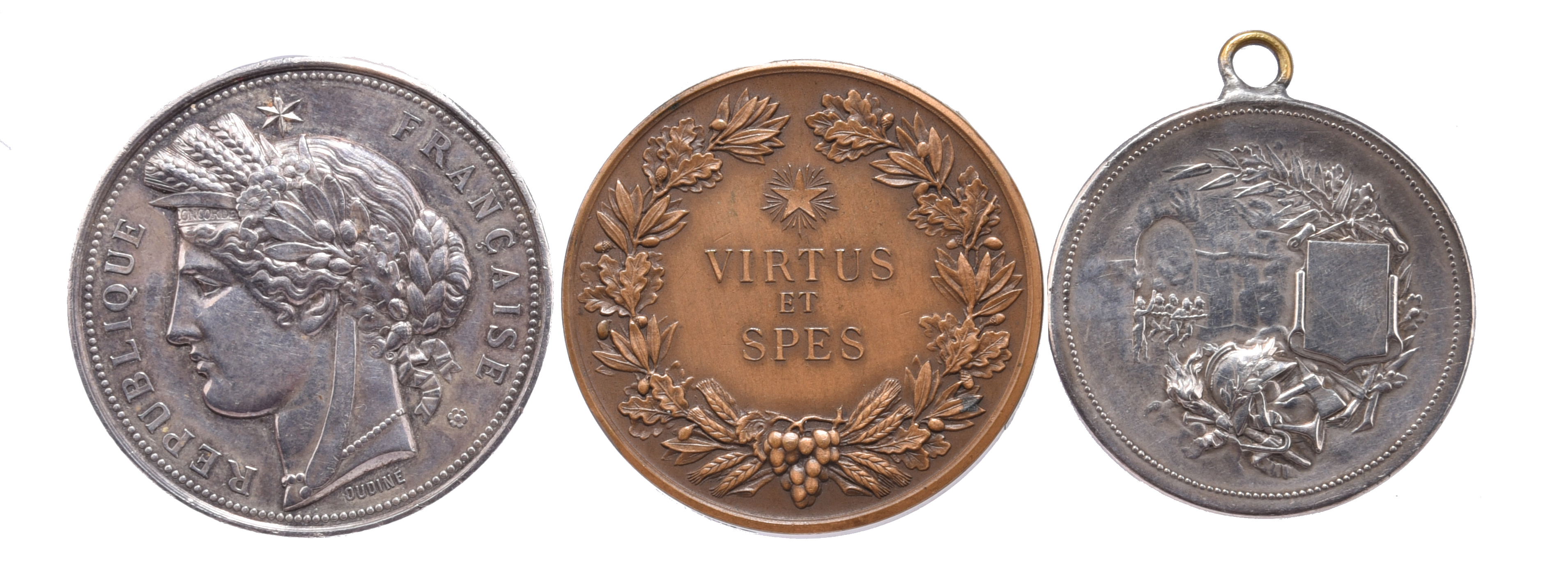 Three French Award Medals: silver, 51mm, head of Marianne left, rev. rifles, revolver and a bow,