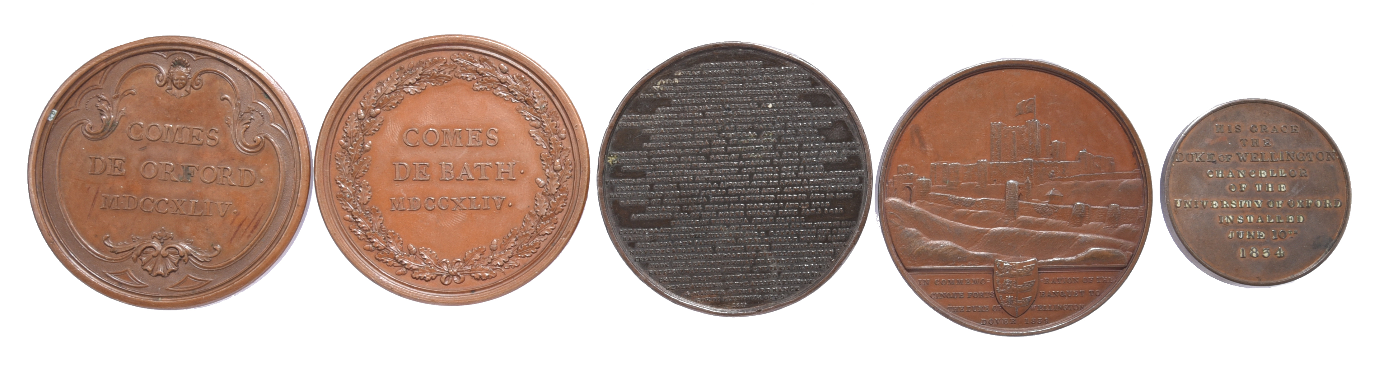 Five British historical medals: Robert Walpole 1744, AE, 55mm, bust left, rev. 'COMES DE ORFORD' - Image 2 of 2