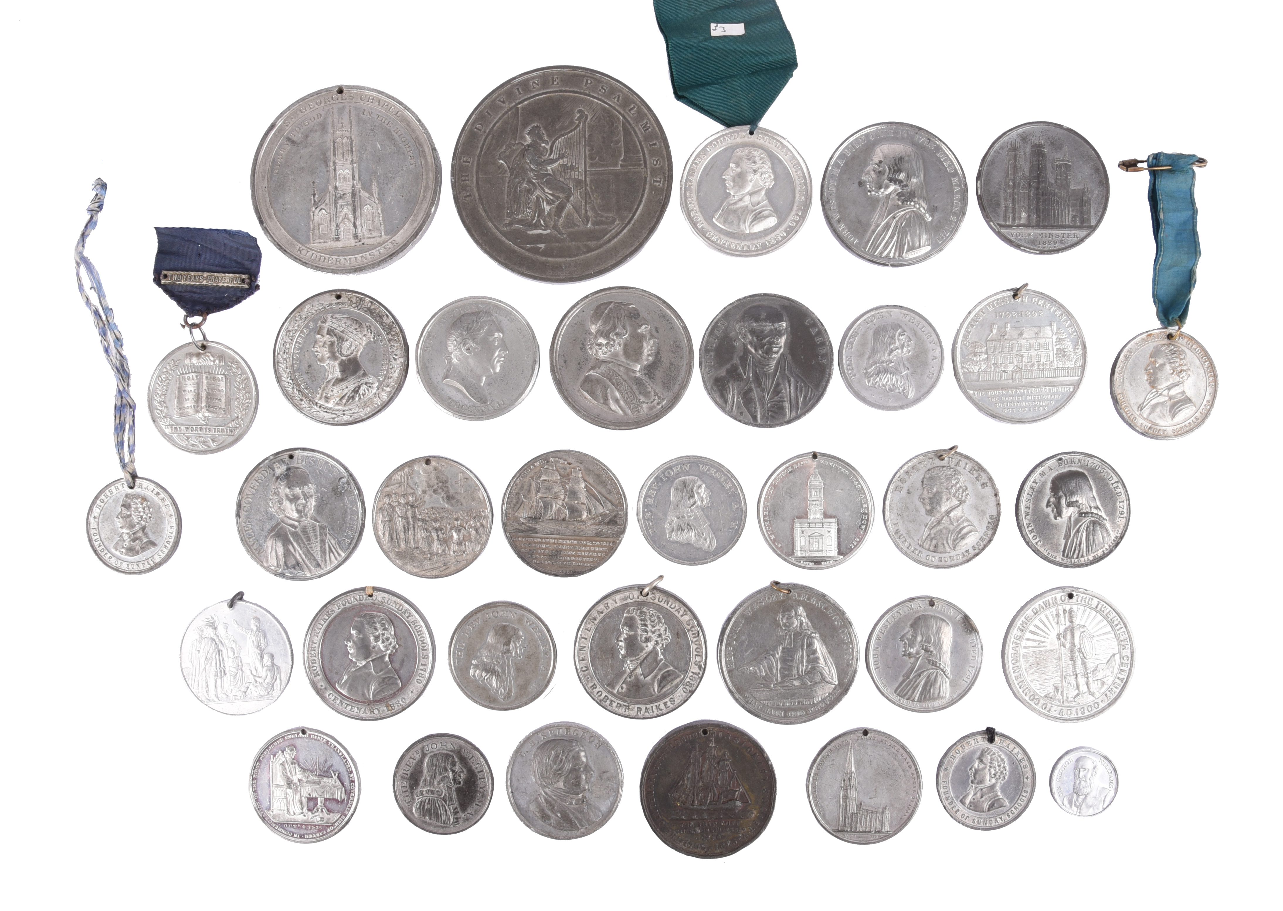 A quantity of historical medals, white metal, various religious subjects including: Wesleyan