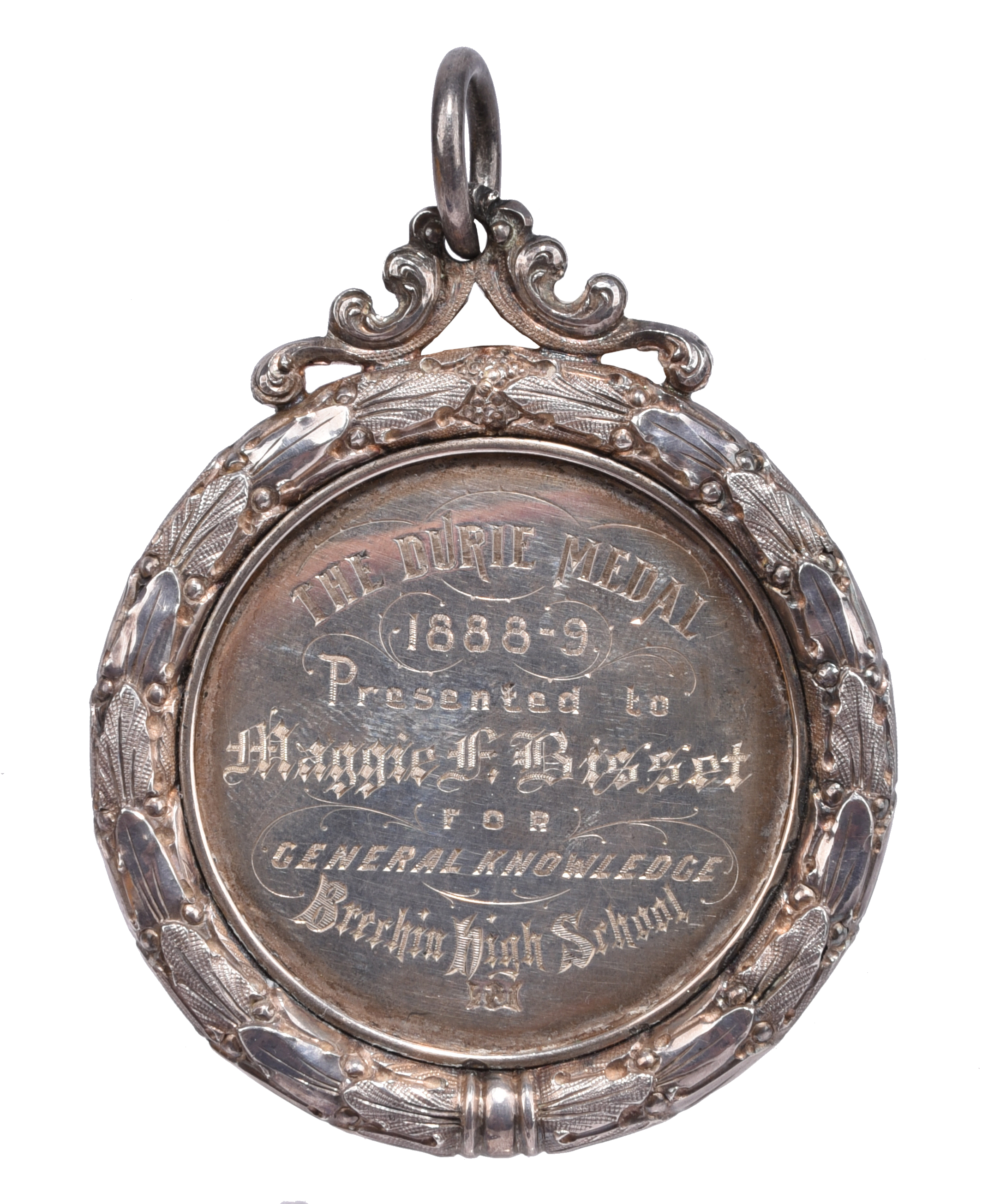 Scotland: Brechin High School 1888-9: an engraved silver prize medal, 58mm, view of the school, rev. - Image 2 of 3