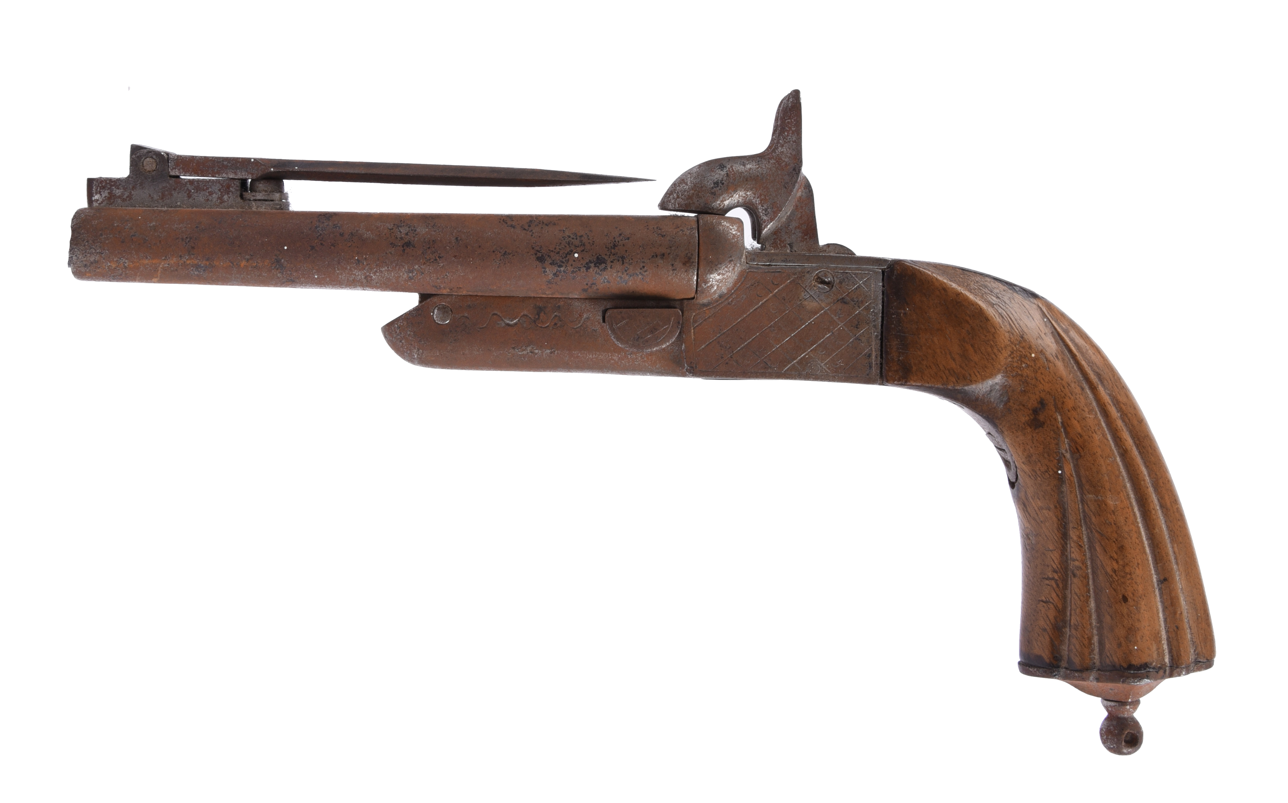 A near pair (or graduated set) of continental pinfire double pistols, each with folding bayonet, box - Image 6 of 7