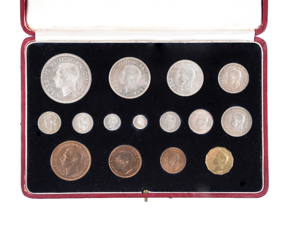 George VI: specimen set 1937, 15 coins, crown to farthing including maundy set, in original red
