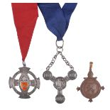 Three ecclesiastical badges: Diocese of London Order of Readers, silver and enamel, openwork