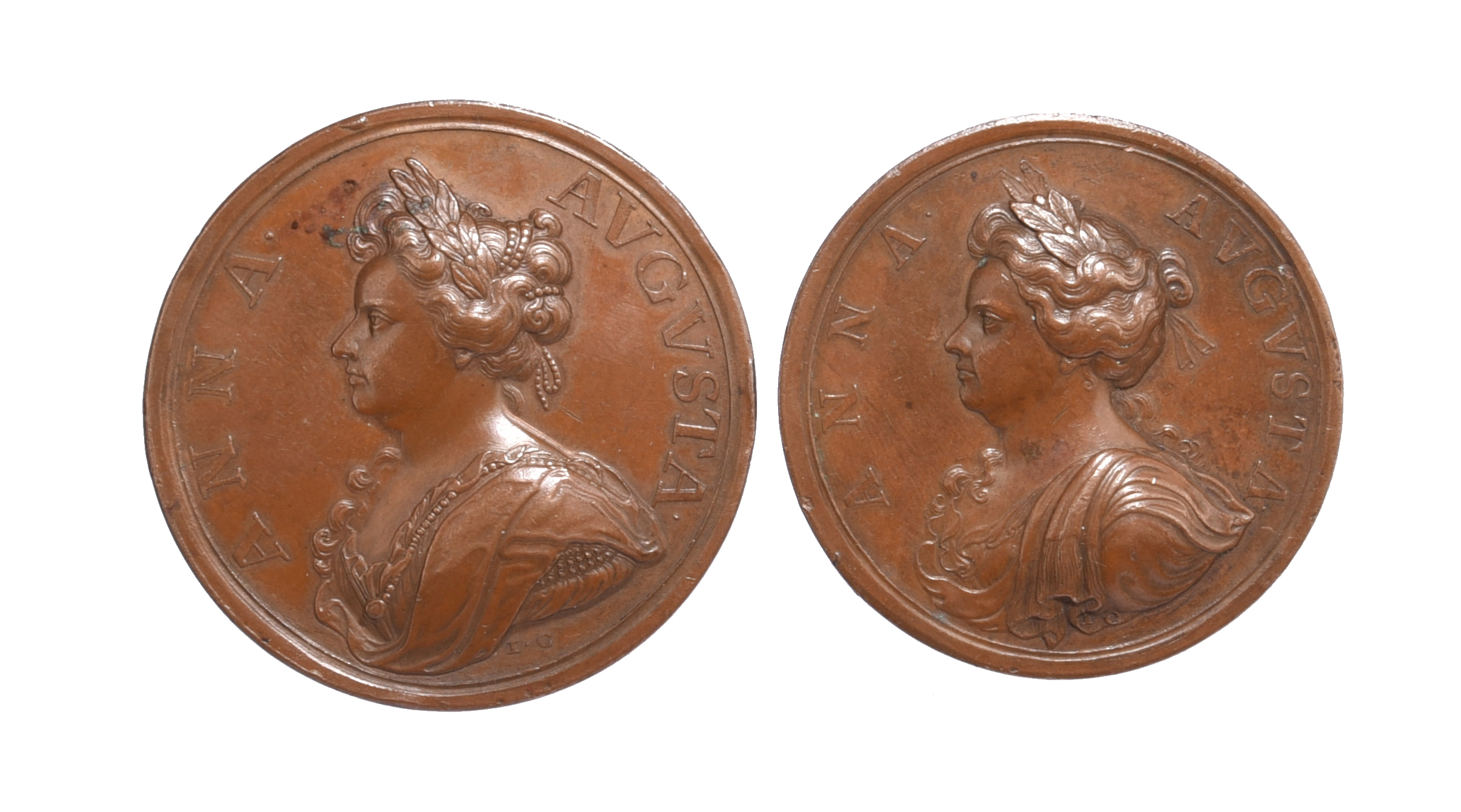 Anne (1702-14): War of the Spanish Succession, two medals: Douay Taken 1710, AE, 48mm, bust left, '