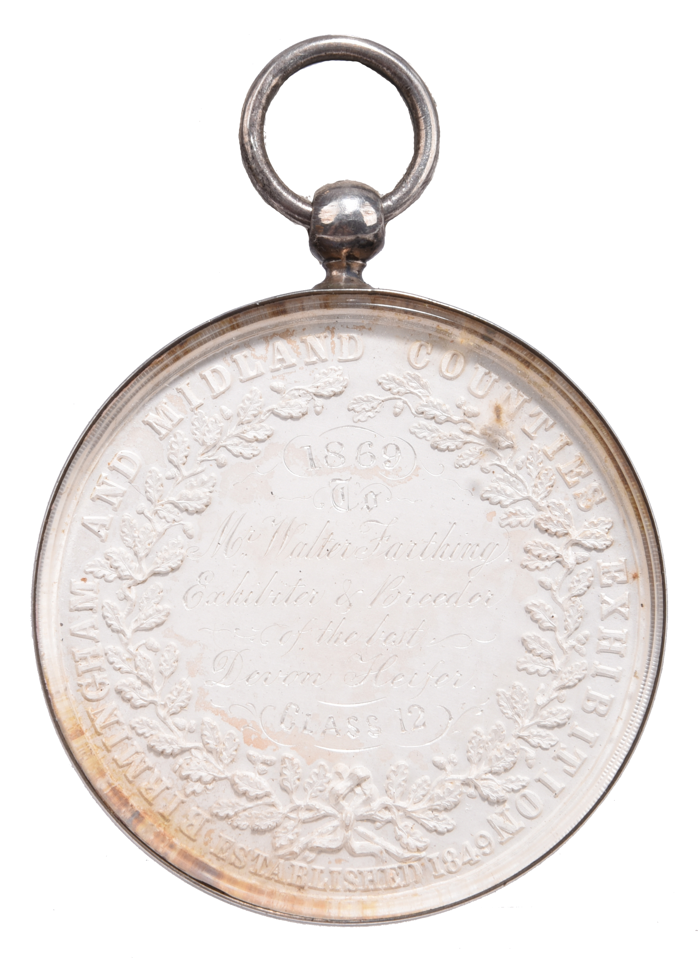Birmingham and Midland Counties Exhibition: an agricultural prize medal, silver, 54mm, livestock - Image 2 of 2