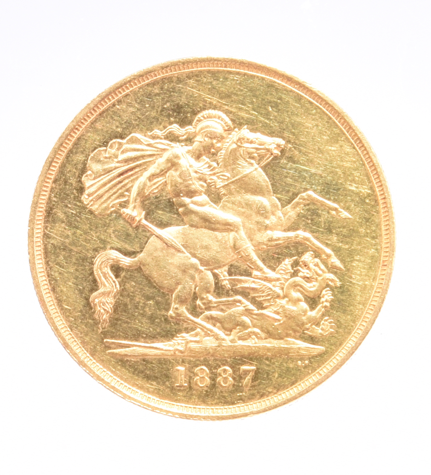 Victoria, gold five pounds, 1887 (S 3864), hairlining and minor marks to fields, otherwise about - Image 2 of 2