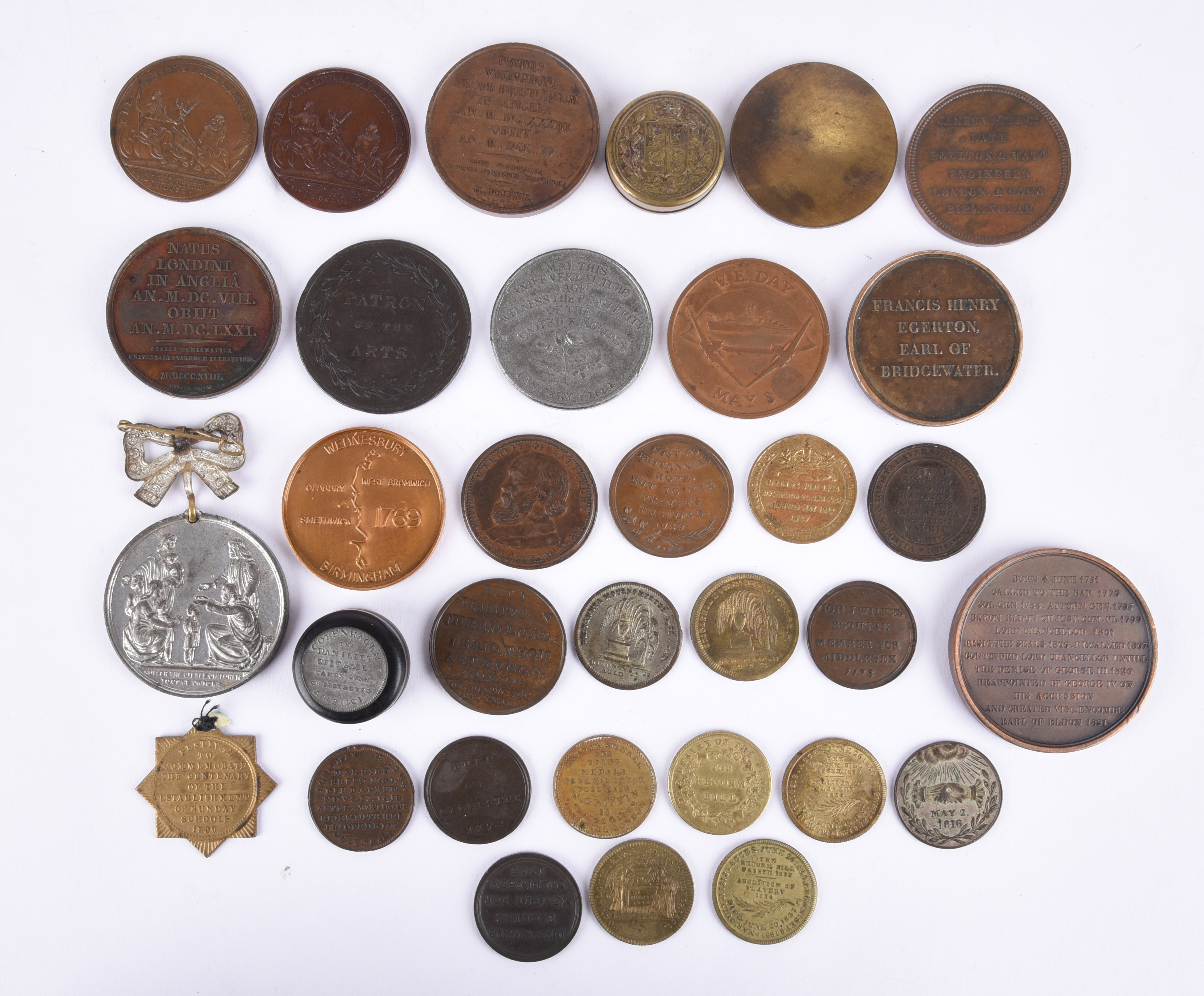 A small quantity of historican medals and associated items, including: Anne: Battle of Blenheim 1704 - Image 2 of 2