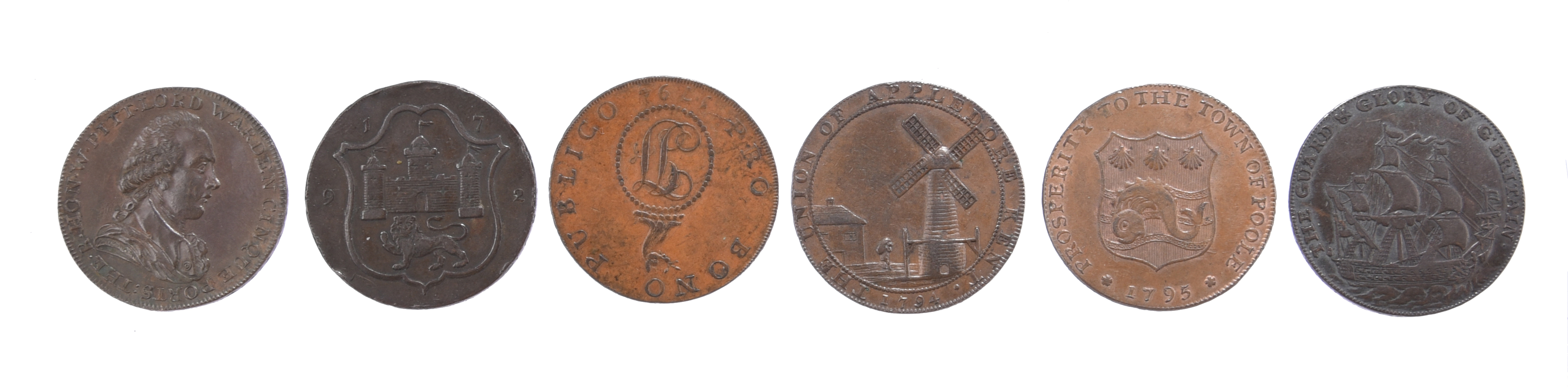 18th century tokens: Kent: Dover halfpenny 1794, William Pitt, rev. Cinque Ports arms, edge AT