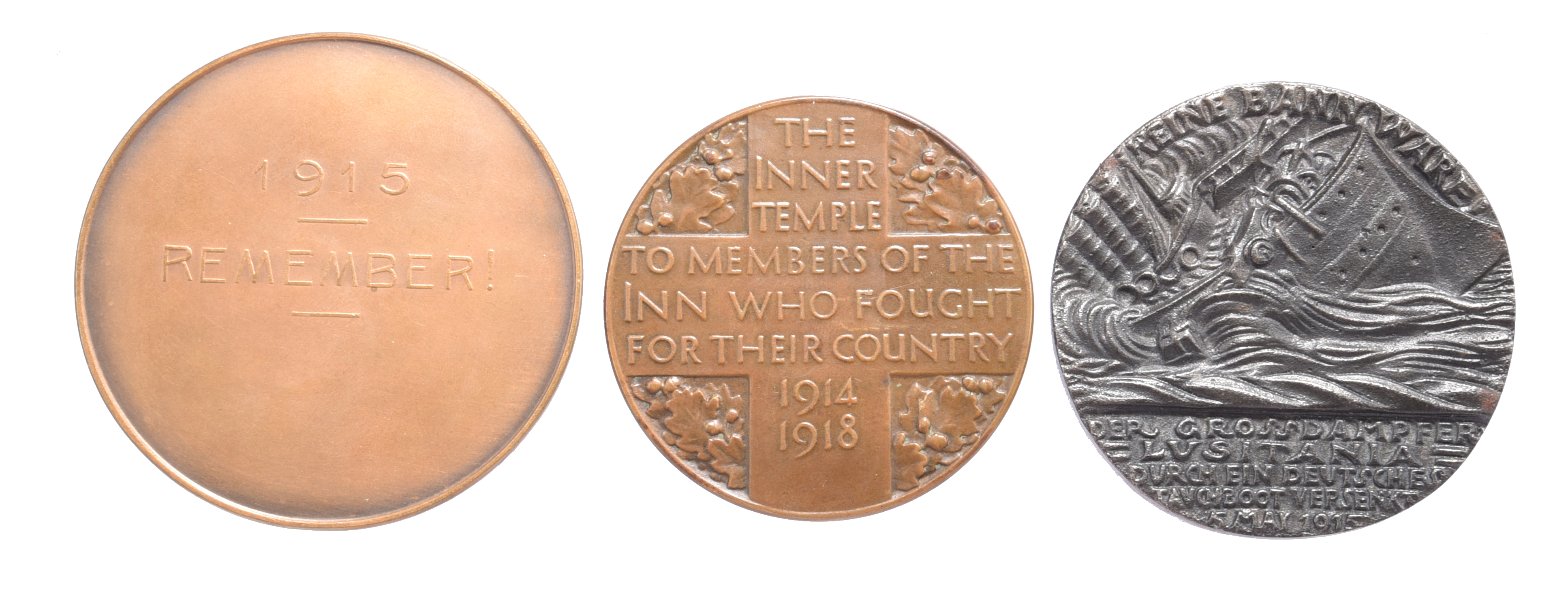 Three commemorative medals, First World War: Edith Cavell and Marie Depage 1915, AE, 60mm, conjoined - Image 2 of 2