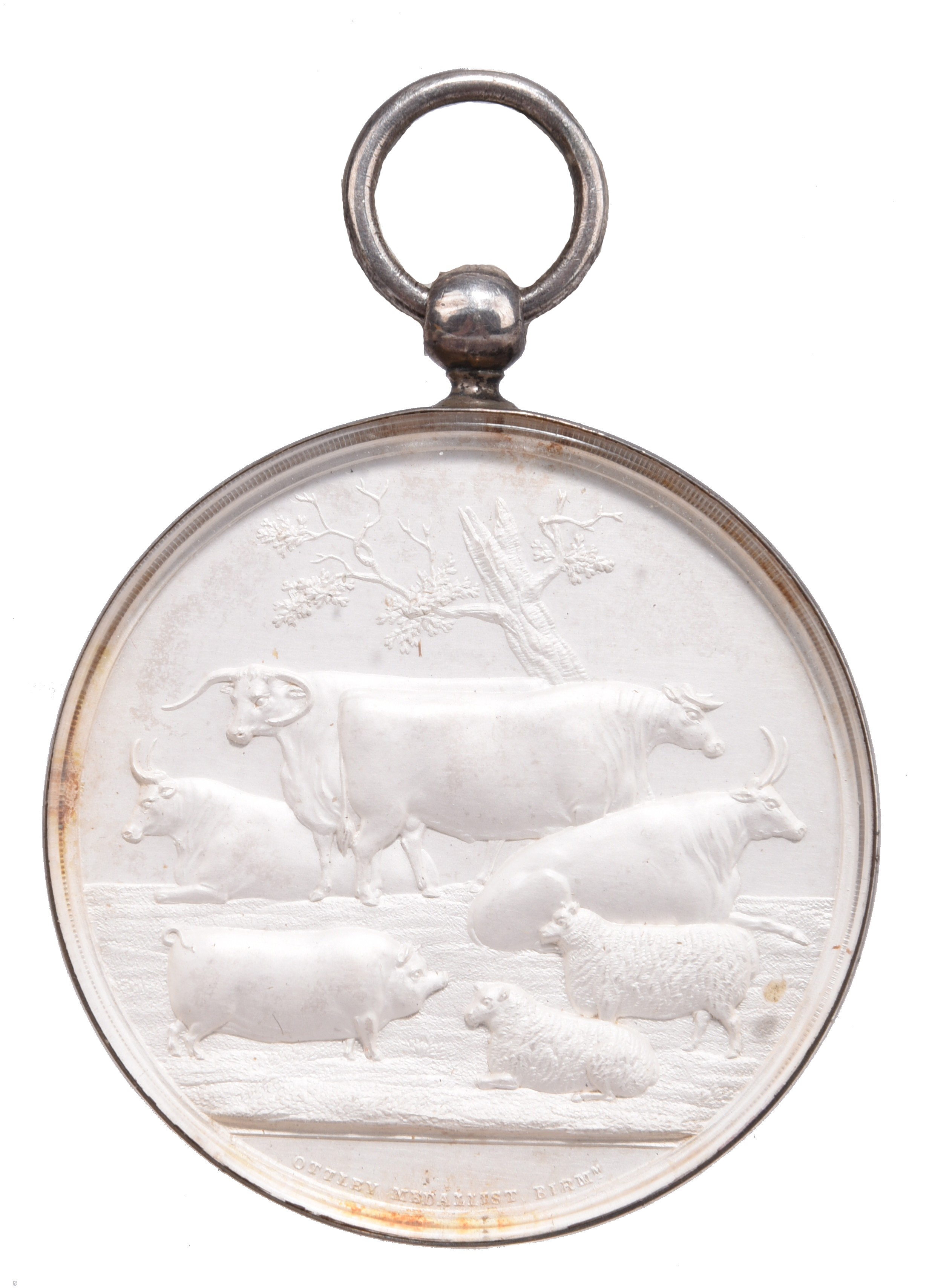 Birmingham and Midland Counties Exhibition: an agricultural prize medal, silver, 54mm, livestock