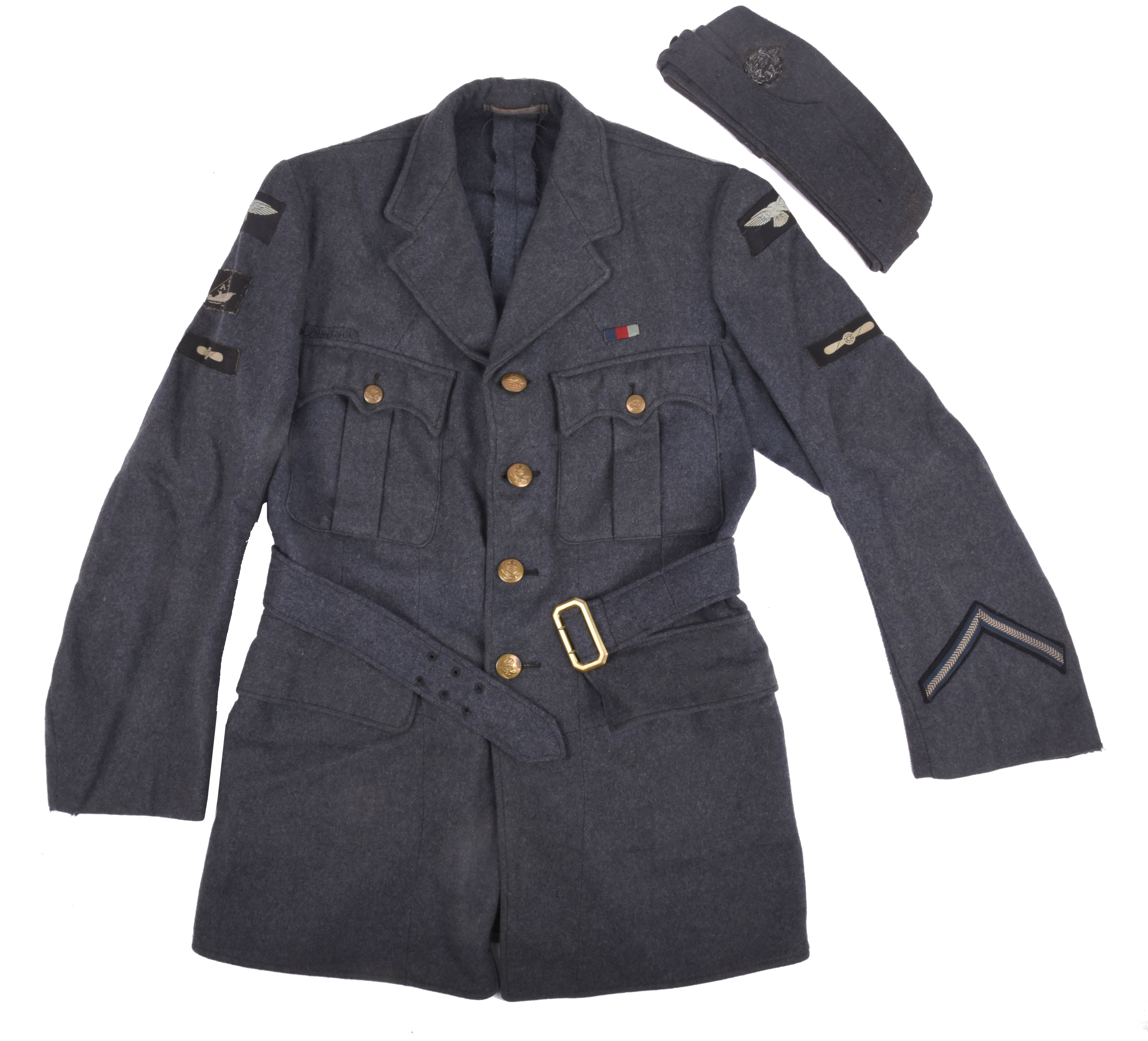 A Second World War RAF Air Sea Rescue jacket, with fabric insignia including Leading Aircraftsman