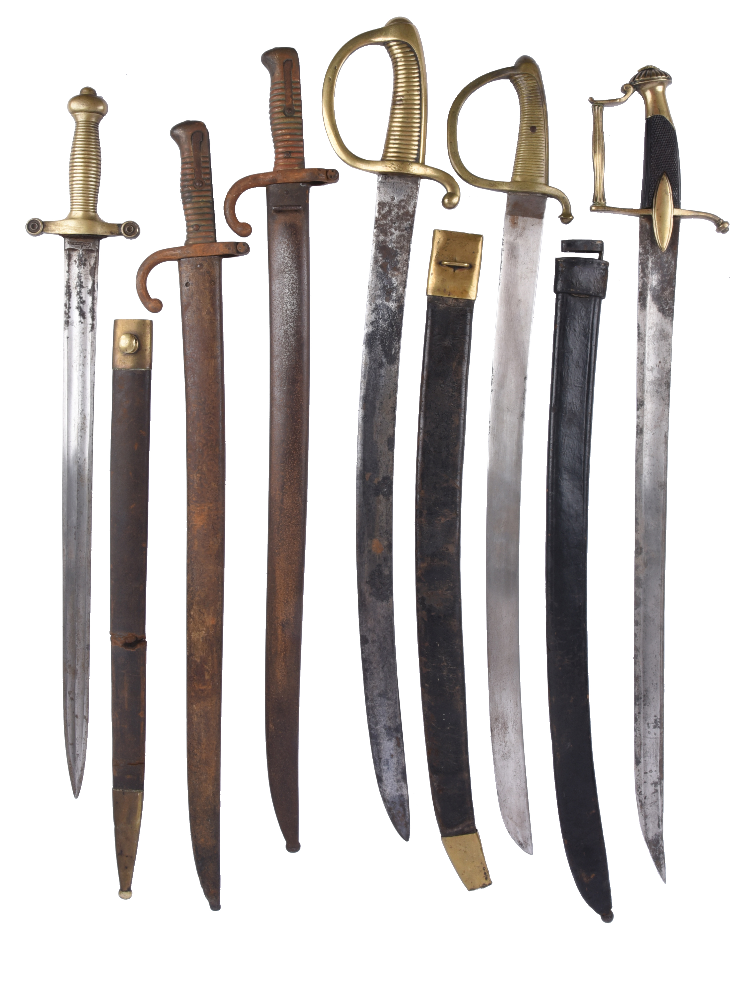 Six 19th century continental military edged weapons: a French cavalry officer's sword with cut-