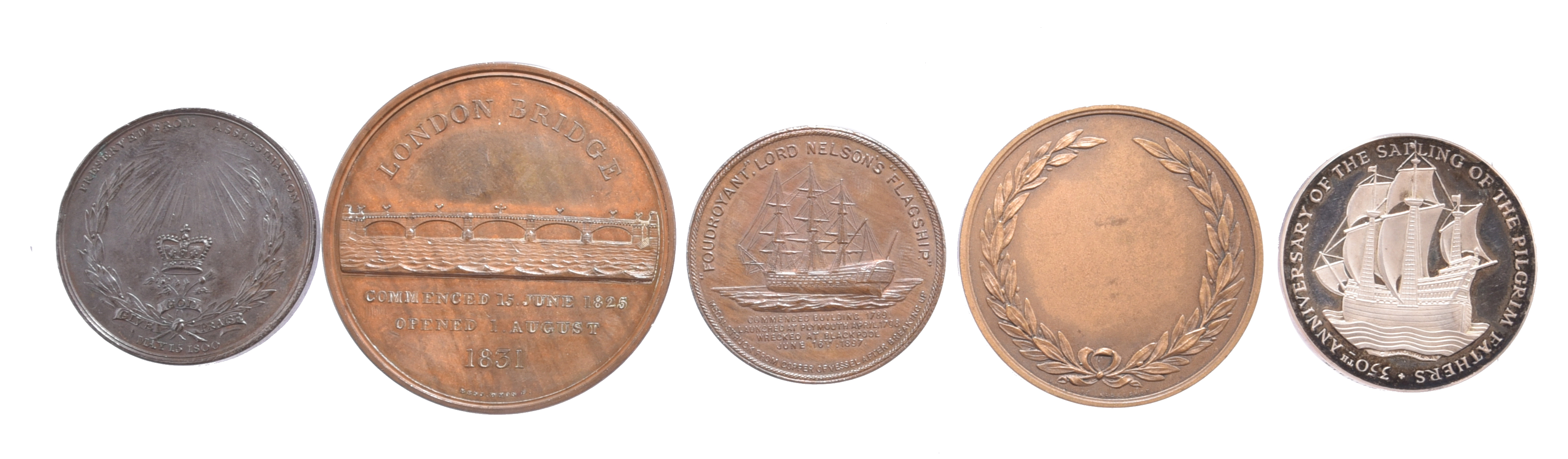 Five various historical medals: George III Preserved from Assassination 1800, AE, 38mm, an angel - Image 2 of 2
