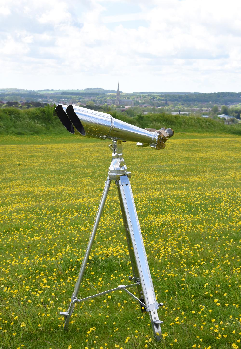 A pair of massive 20x120mm Imperial Japanese Naval observation binoculars, aluminium, brass and - Image 2 of 4
