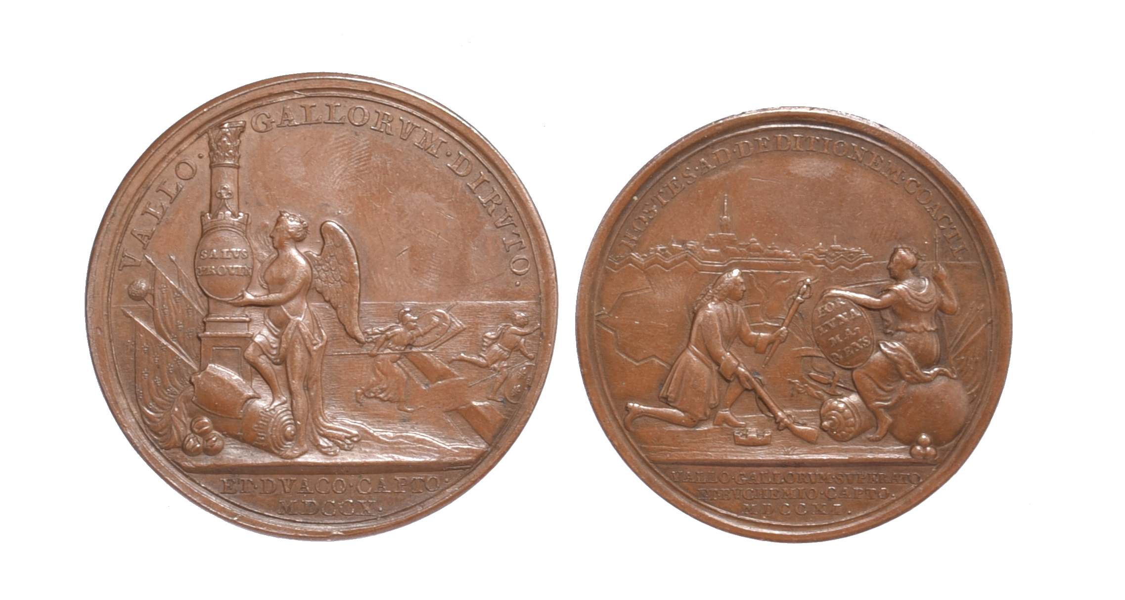 Anne (1702-14): War of the Spanish Succession, two medals: Douay Taken 1710, AE, 48mm, bust left, ' - Image 2 of 2