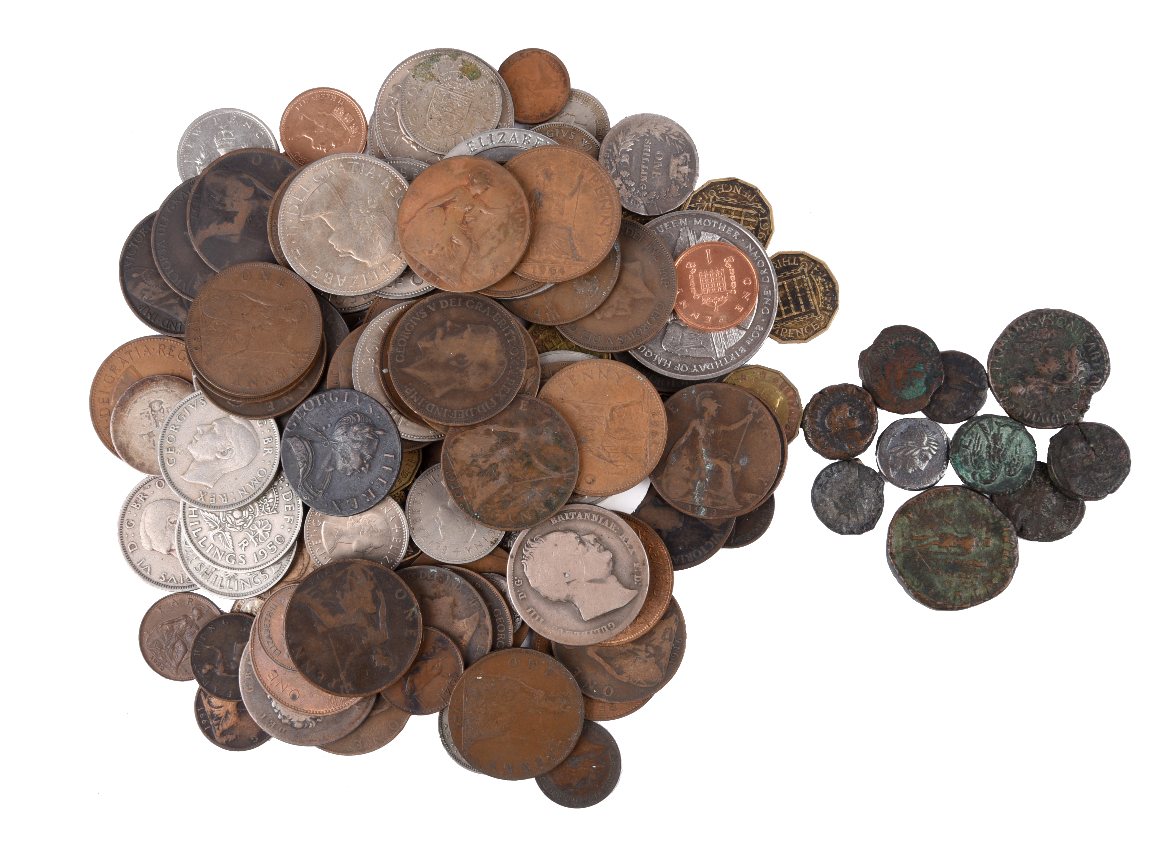 A small quantity of coins, mainly British, including a George III copper halfpenny, 1775, fine; a