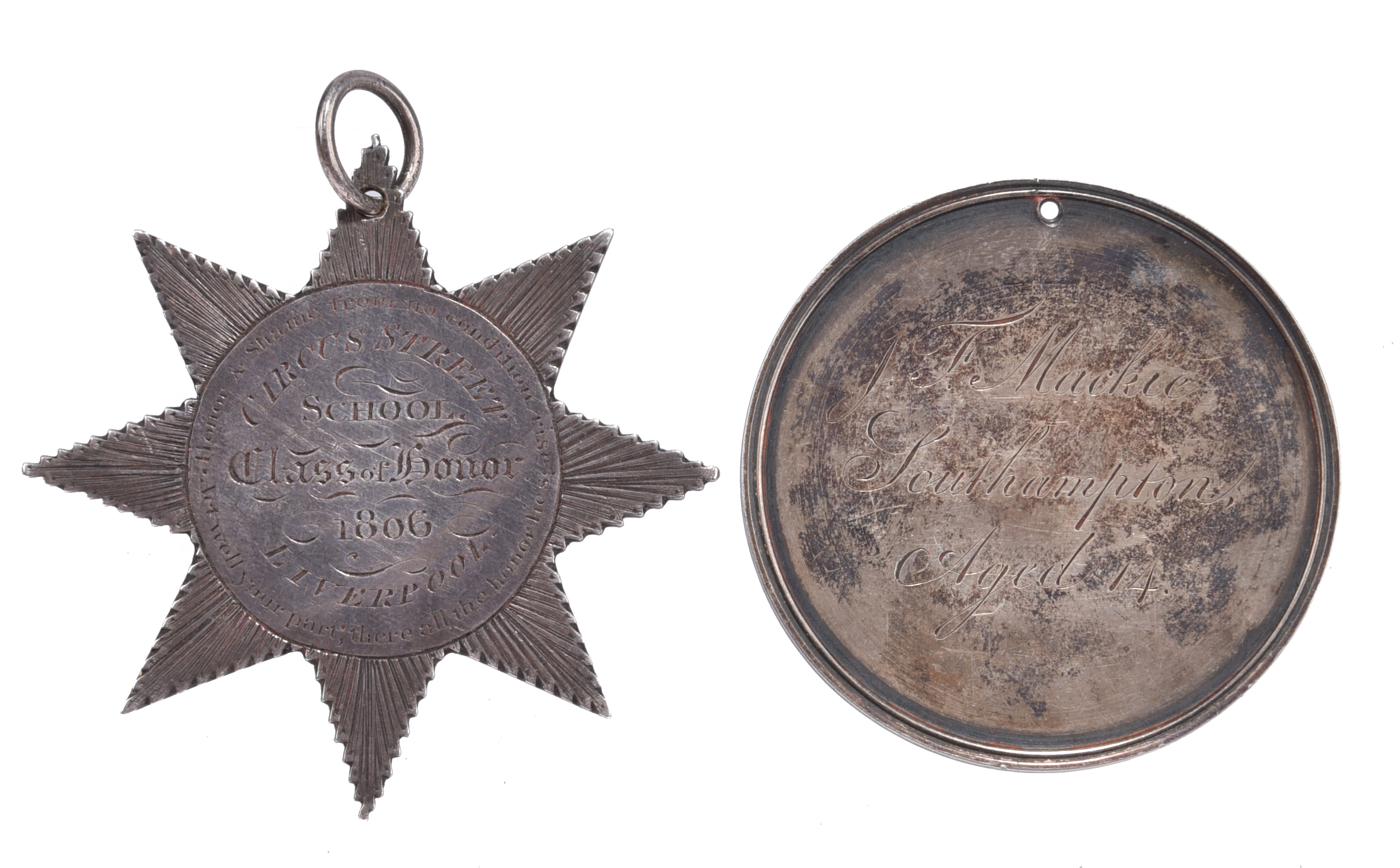 Education: two English engraved silver medals: Circus Street School Liverpool Class of Honour