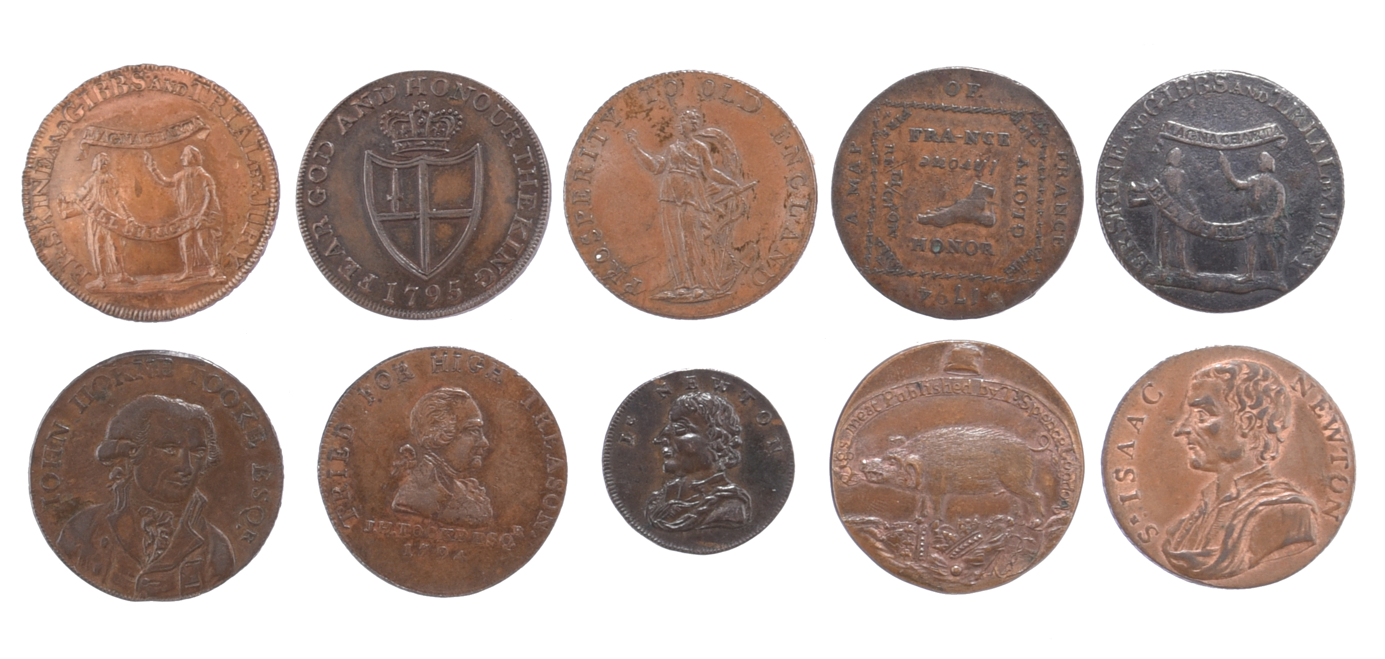 Eighteenth century halfpenny tokens, Middlesex, including: Erskine & Gibbs, barristers holding