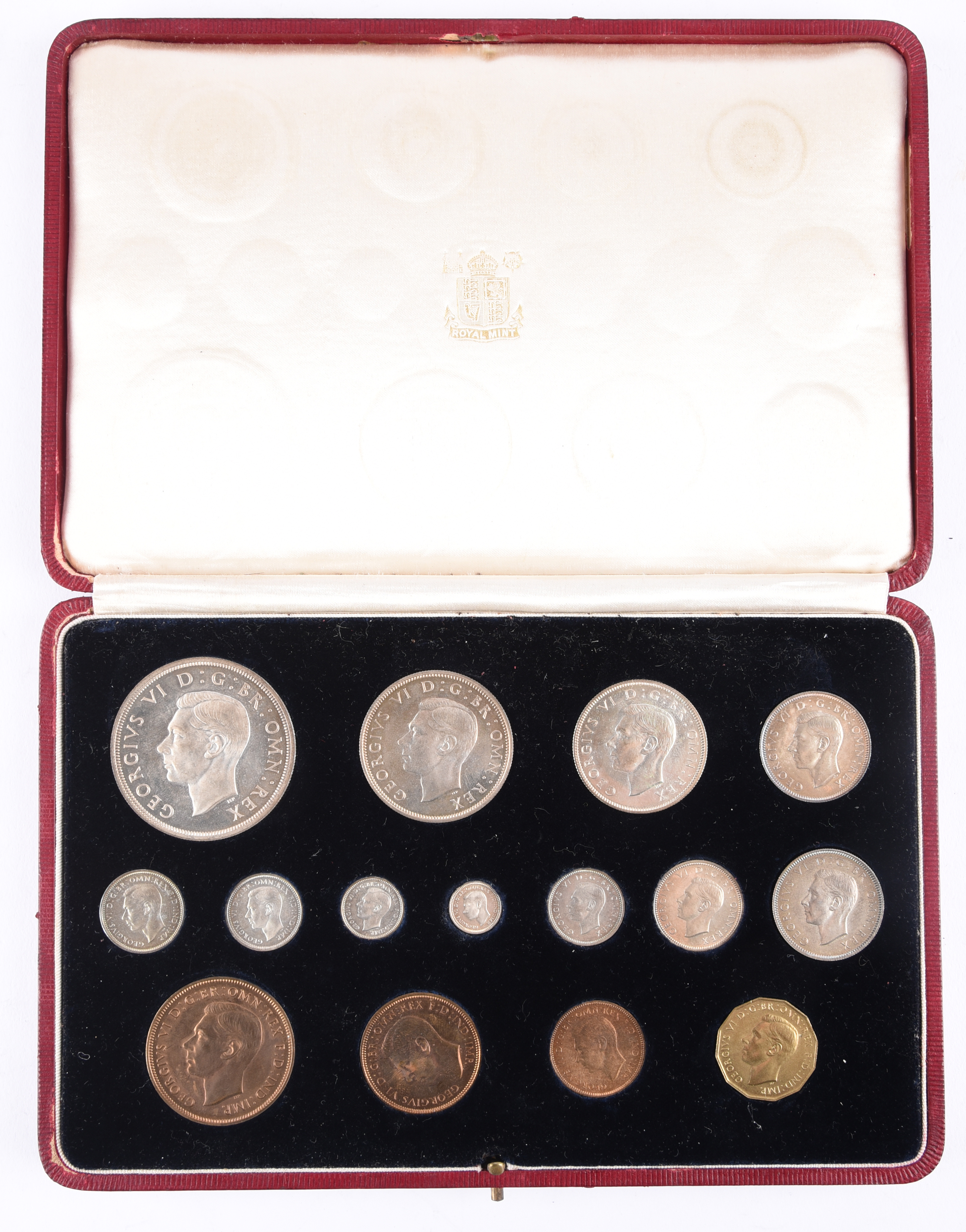 George VI: specimen set 1937, 15 coins, crown to farthing including maundy set, in original red - Image 3 of 3