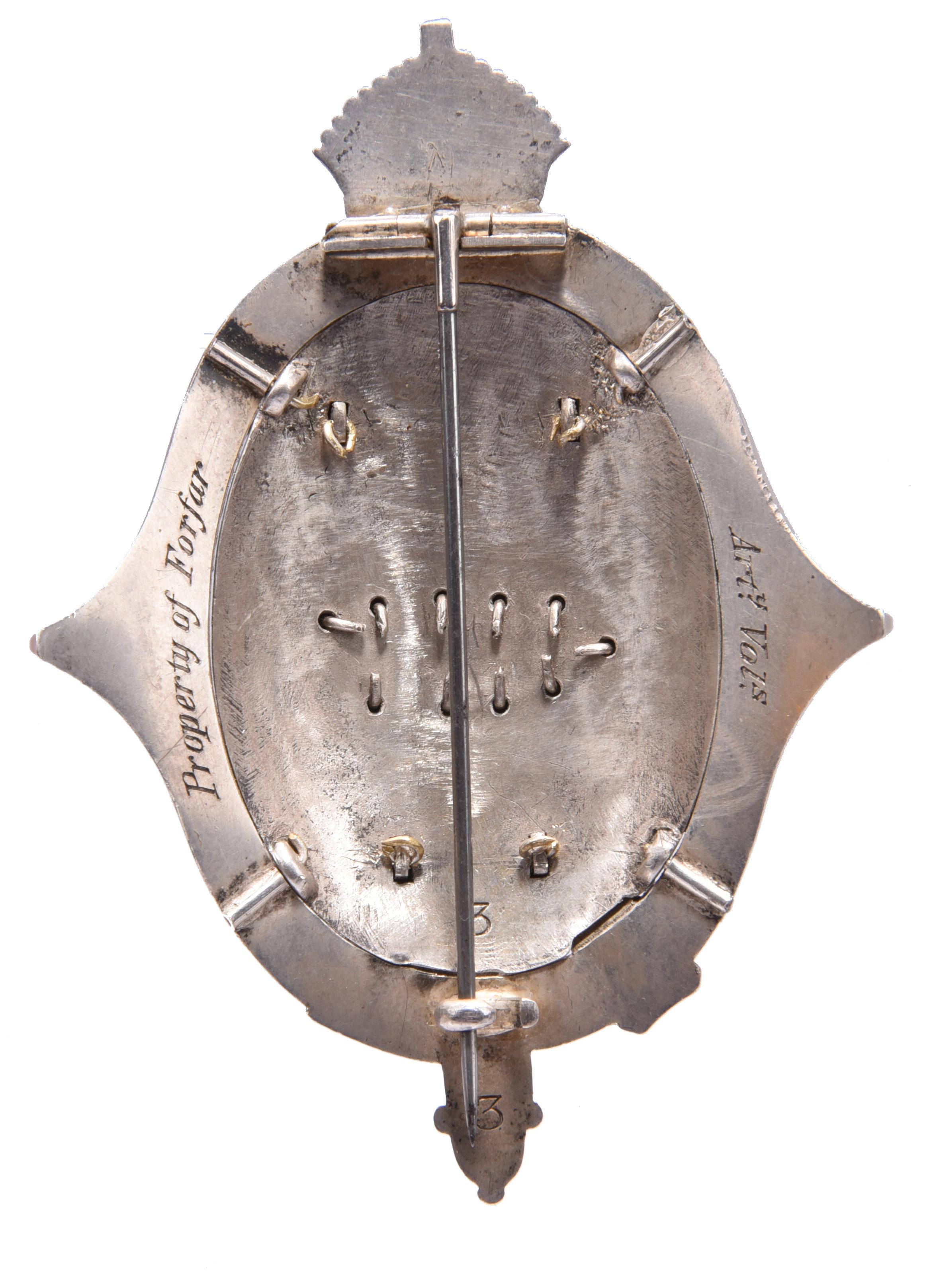 Forfar Artillery Volunteers/Royal HighlandShow: Scotland's Cup 1870, a silver and enamel brooch, - Image 2 of 2