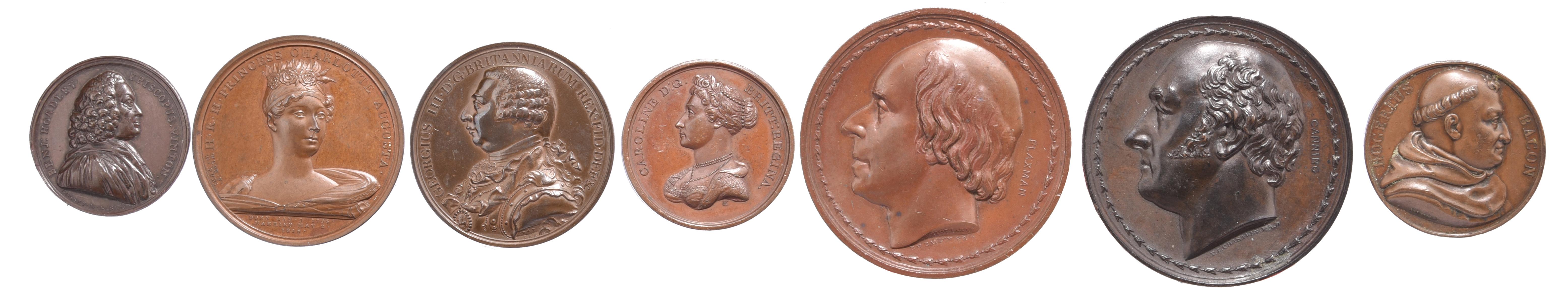 Seven various historical medals: Death of Benjamin Hoadley 1761, AE, 37mm, bust right, rev. mitre